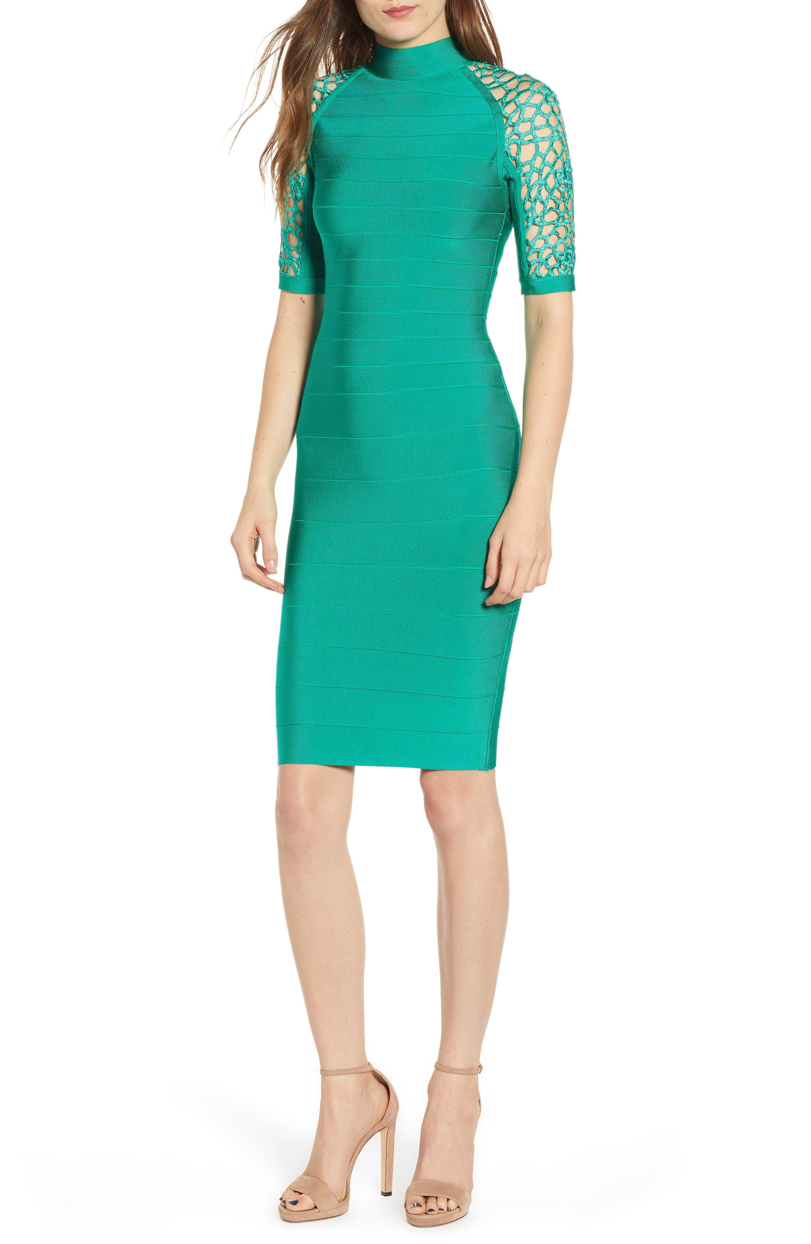 SENTIMENTAL NY Bandage Body-Con Dress, Main, color, GREEN