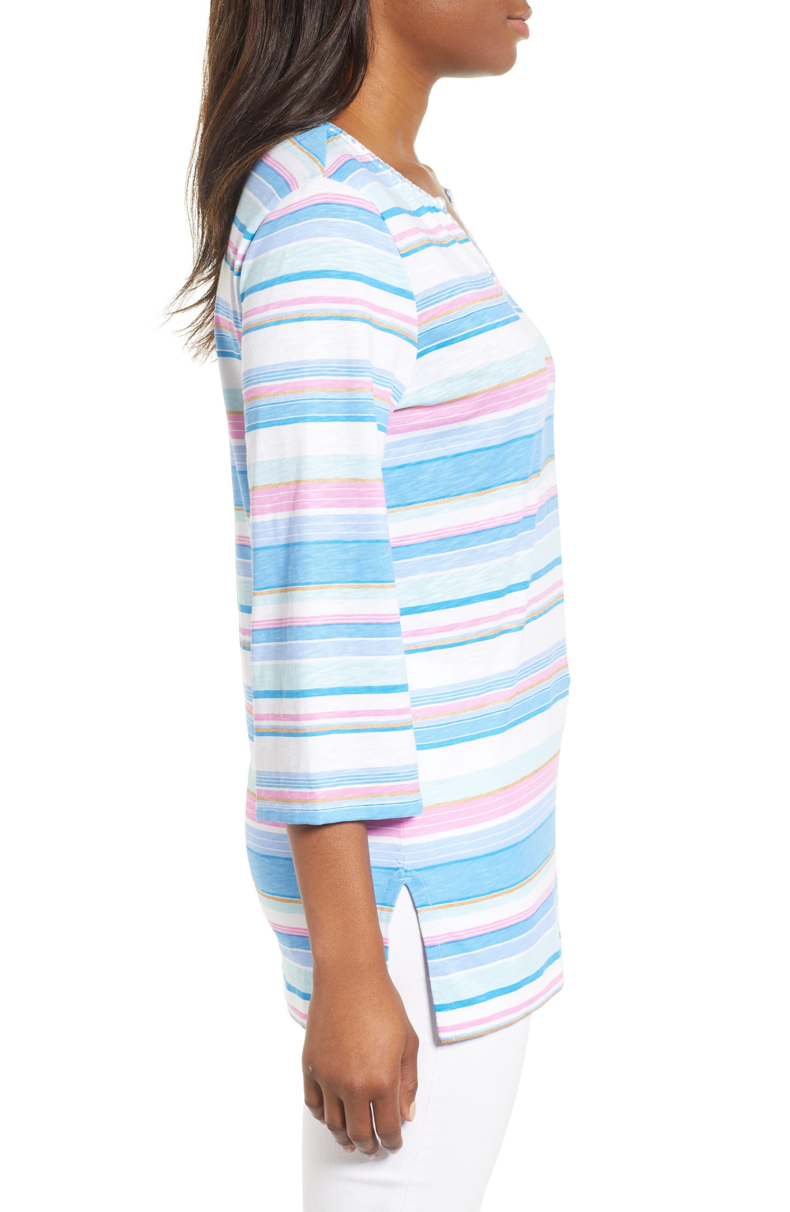 Festival Stripe Bell Sleeve Pima Cotton Top,                             Alternate thumbnail 3, color,                             BLUE ASTER
