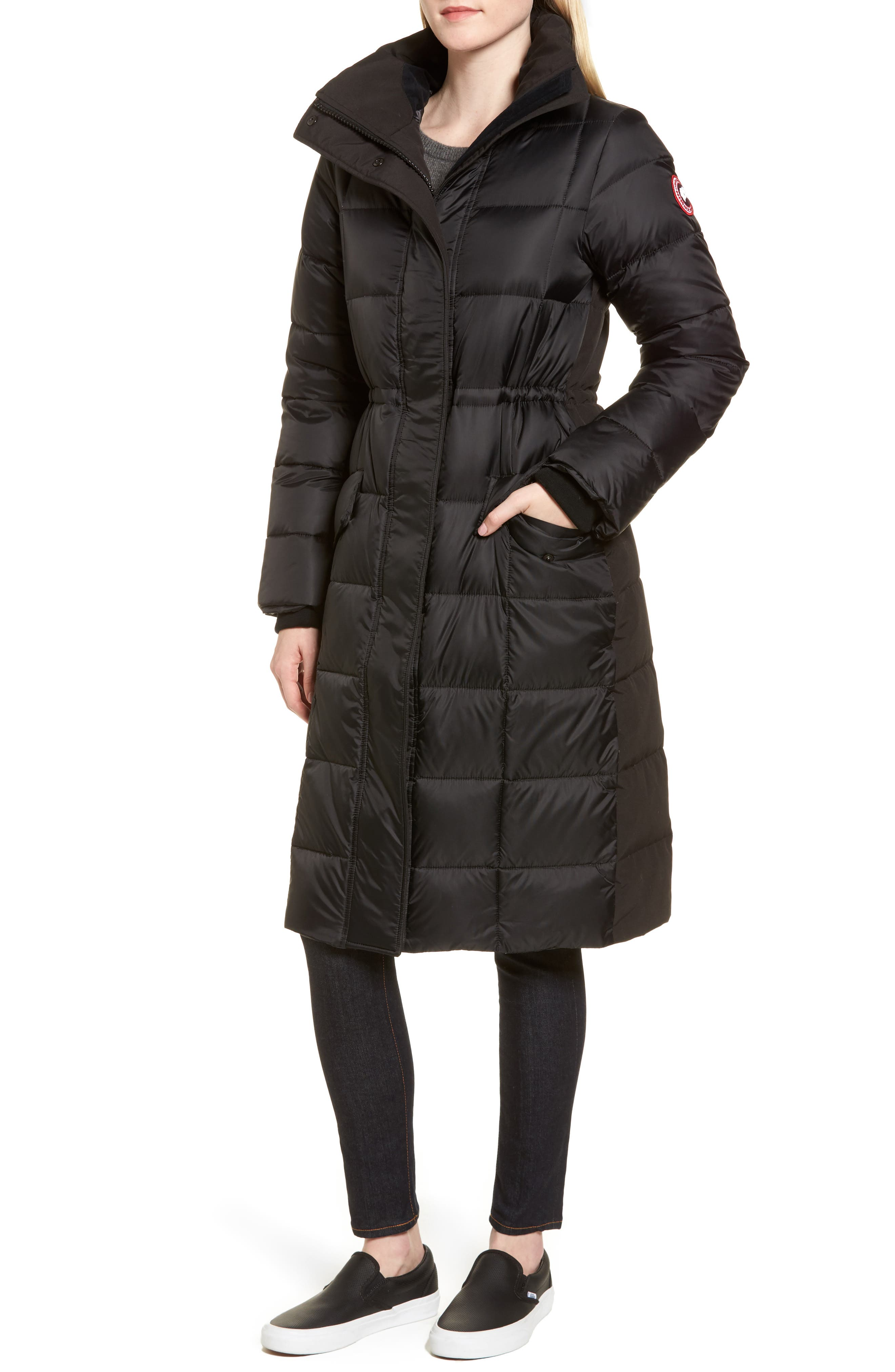 Lunenberg Hooded Down Parka with Genuine Coyote Fur Trim,                             Alternate thumbnail 4, color,                             001