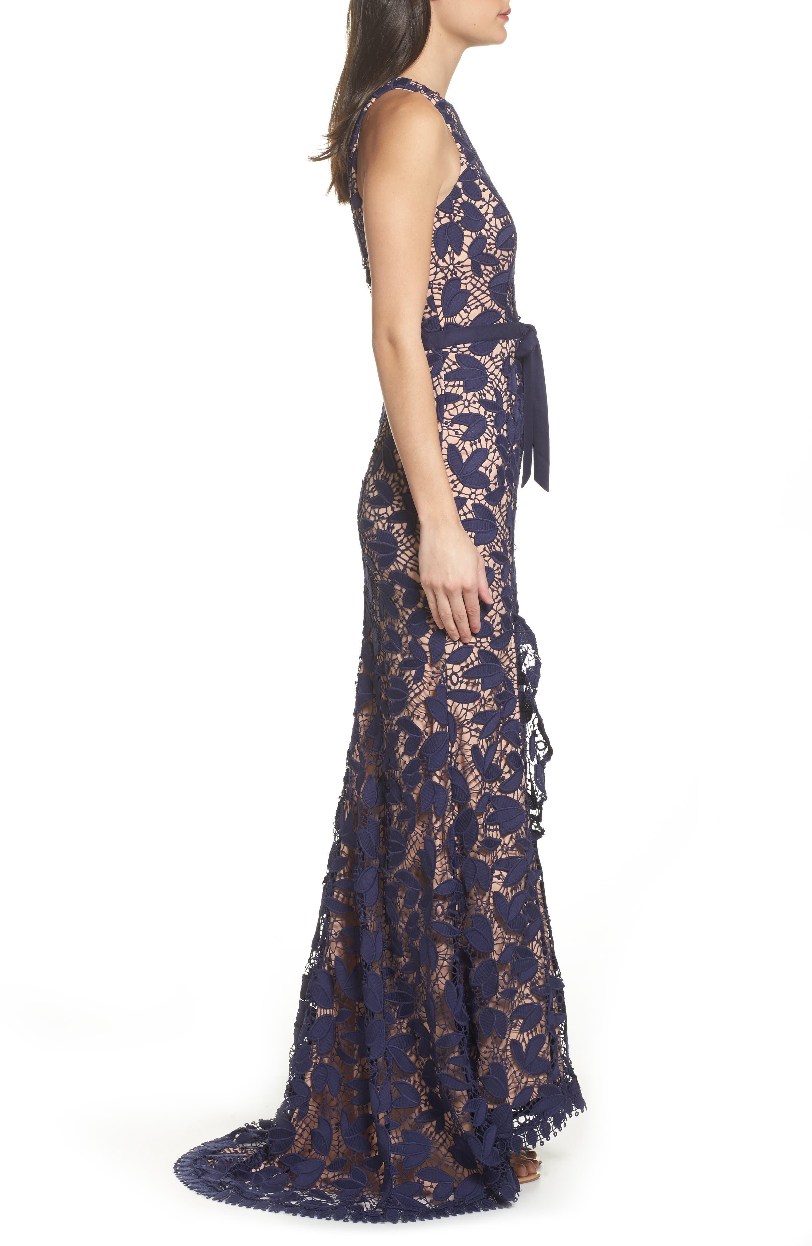 Petal Lace Gown,                             Alternate thumbnail 3, color,                             410