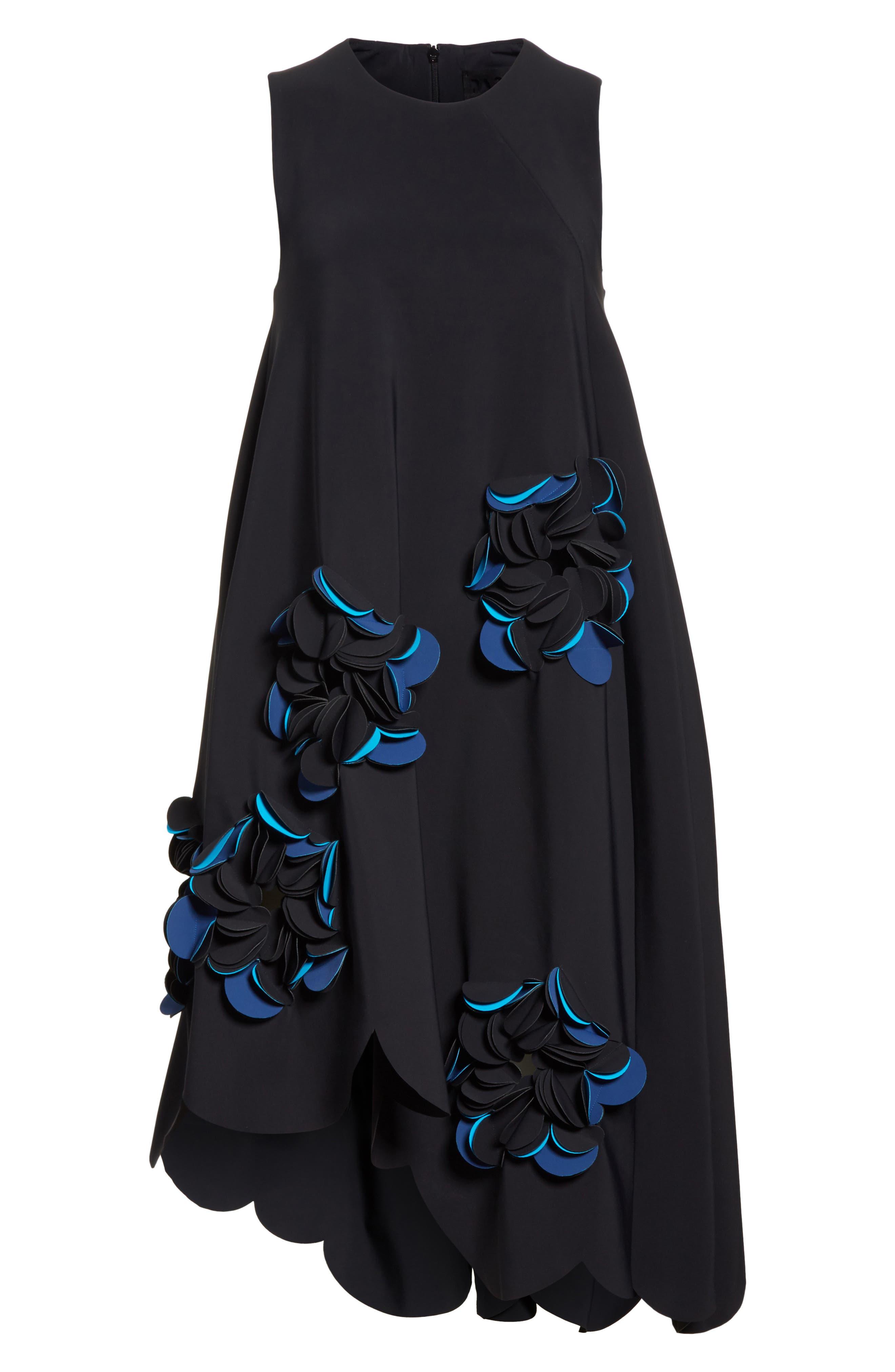 Appliqué Scallop Hem Dress,                             Alternate thumbnail 6, color,                             001