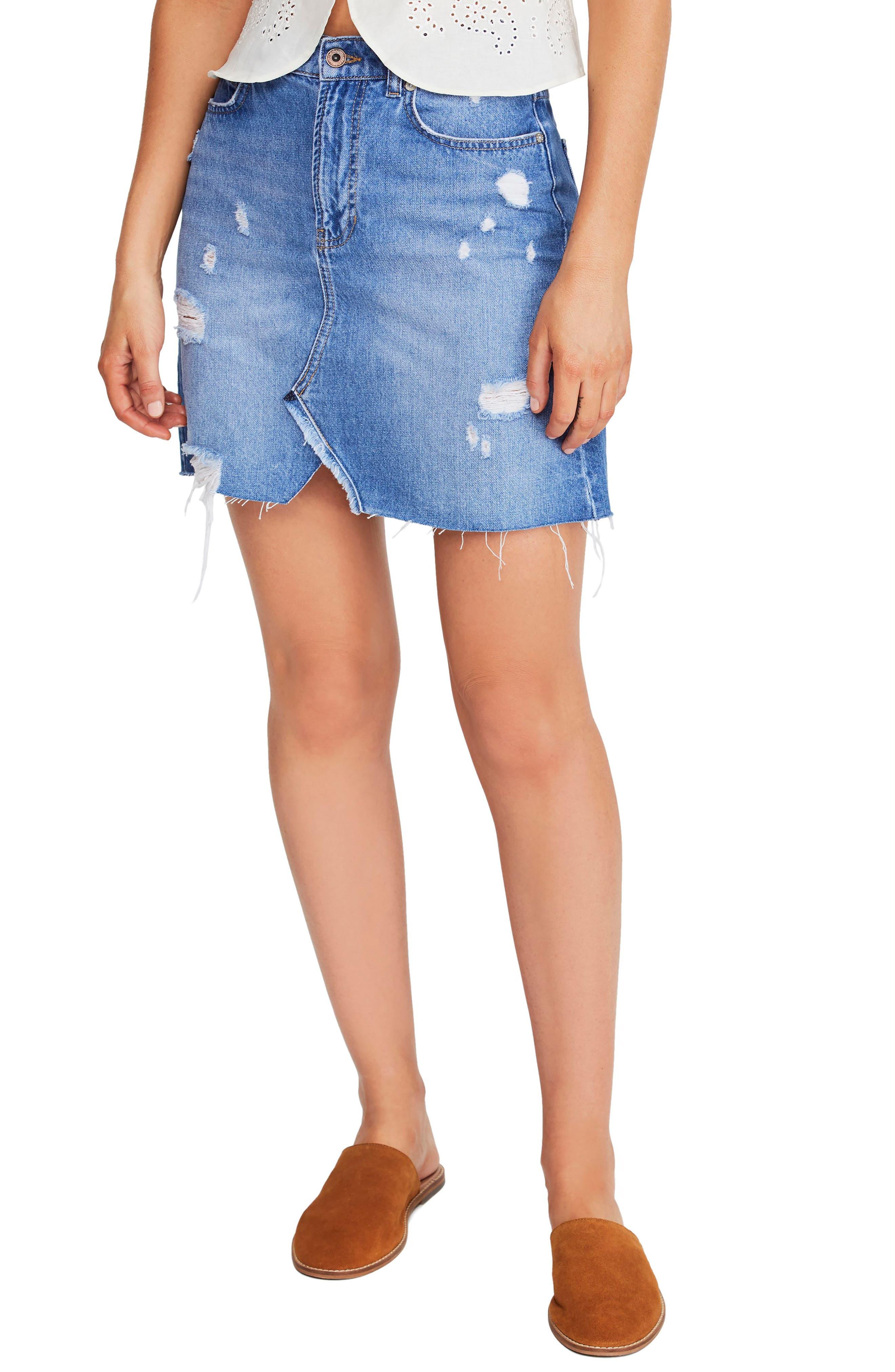 Free People Hallie Denim Miniskirt, Blue