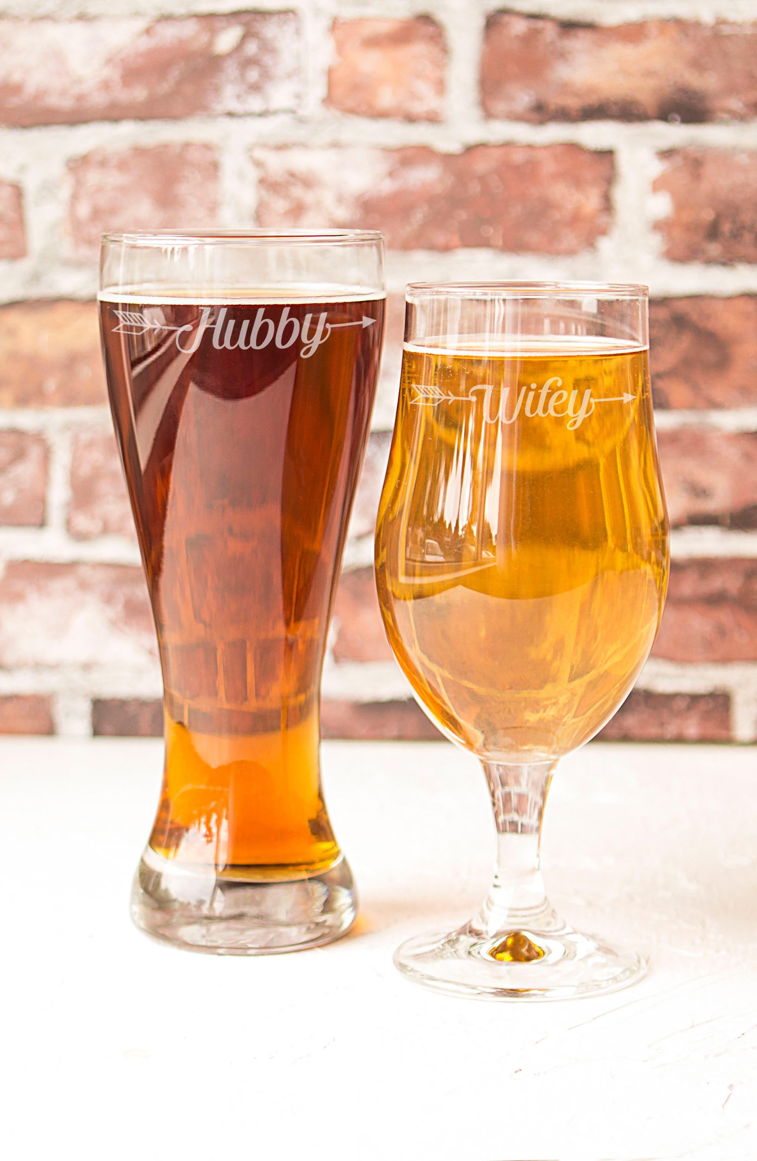 Hubby/Wifey Set of 2 Pilsner Glasses,                             Alternate thumbnail 2, color,                             100