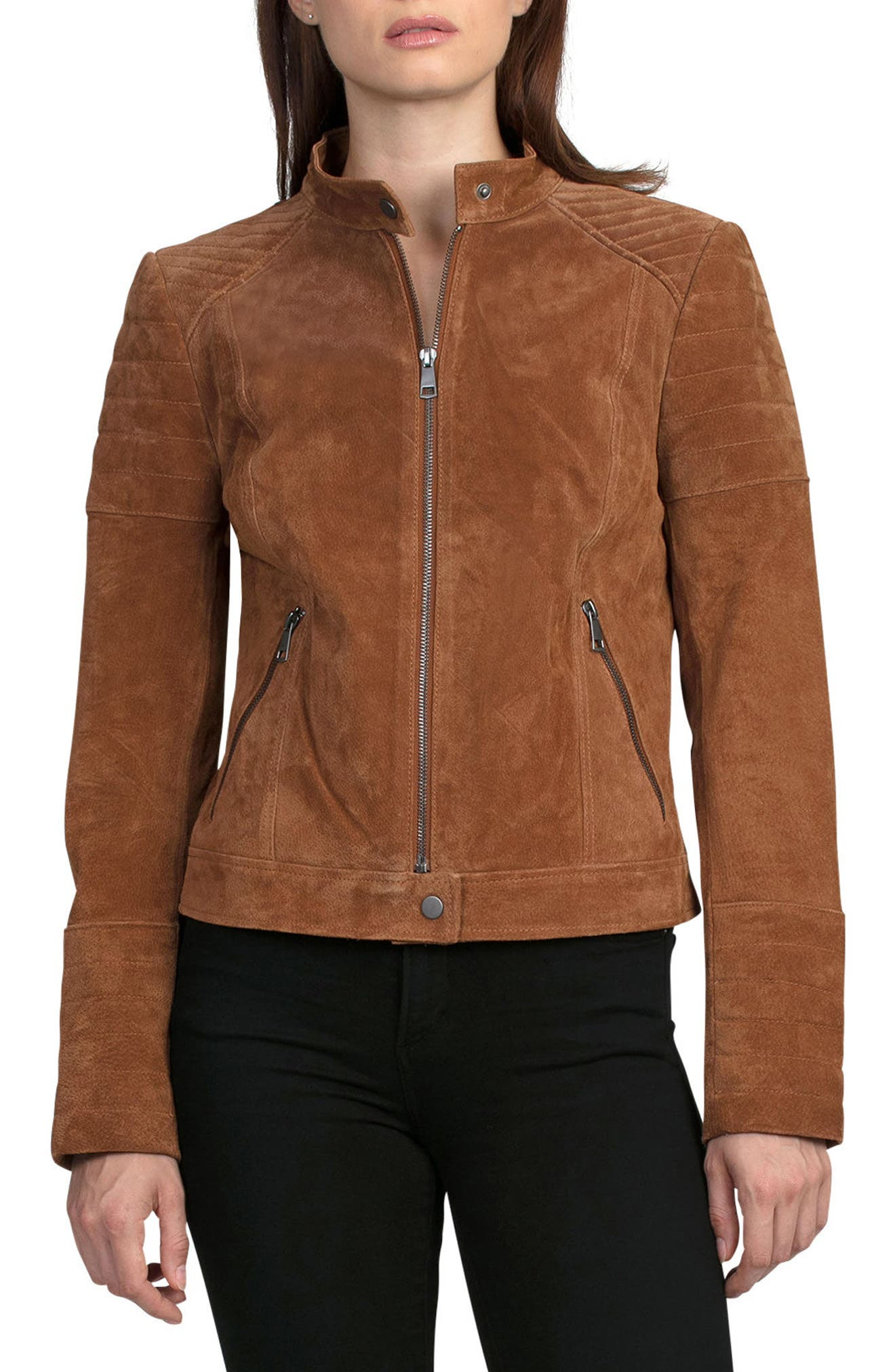 Suede Moto Jacket,                             Alternate thumbnail 5, color,                             200