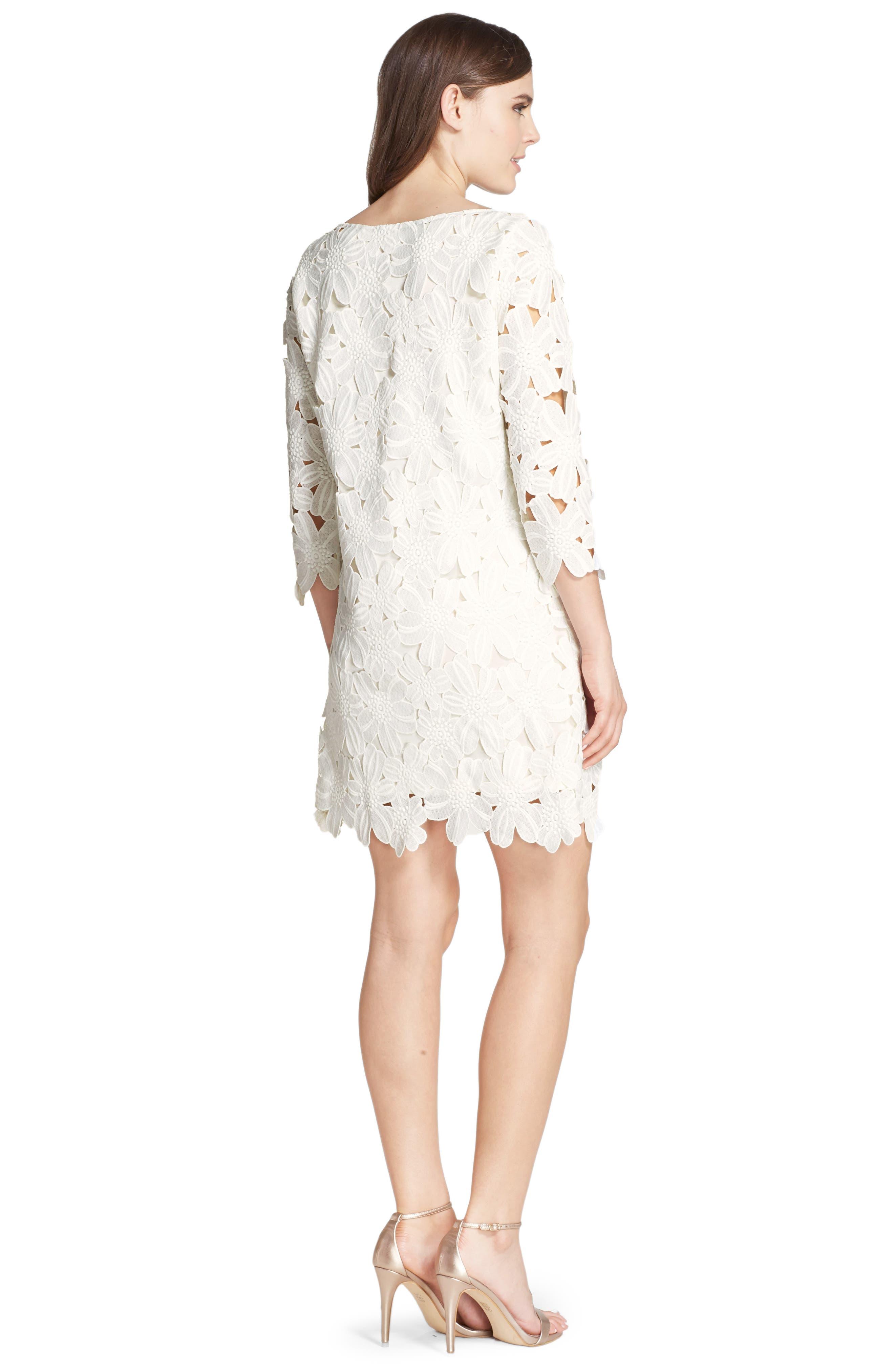 Belza Floral Lace Shift Dress,                             Alternate thumbnail 8, color,                             100
