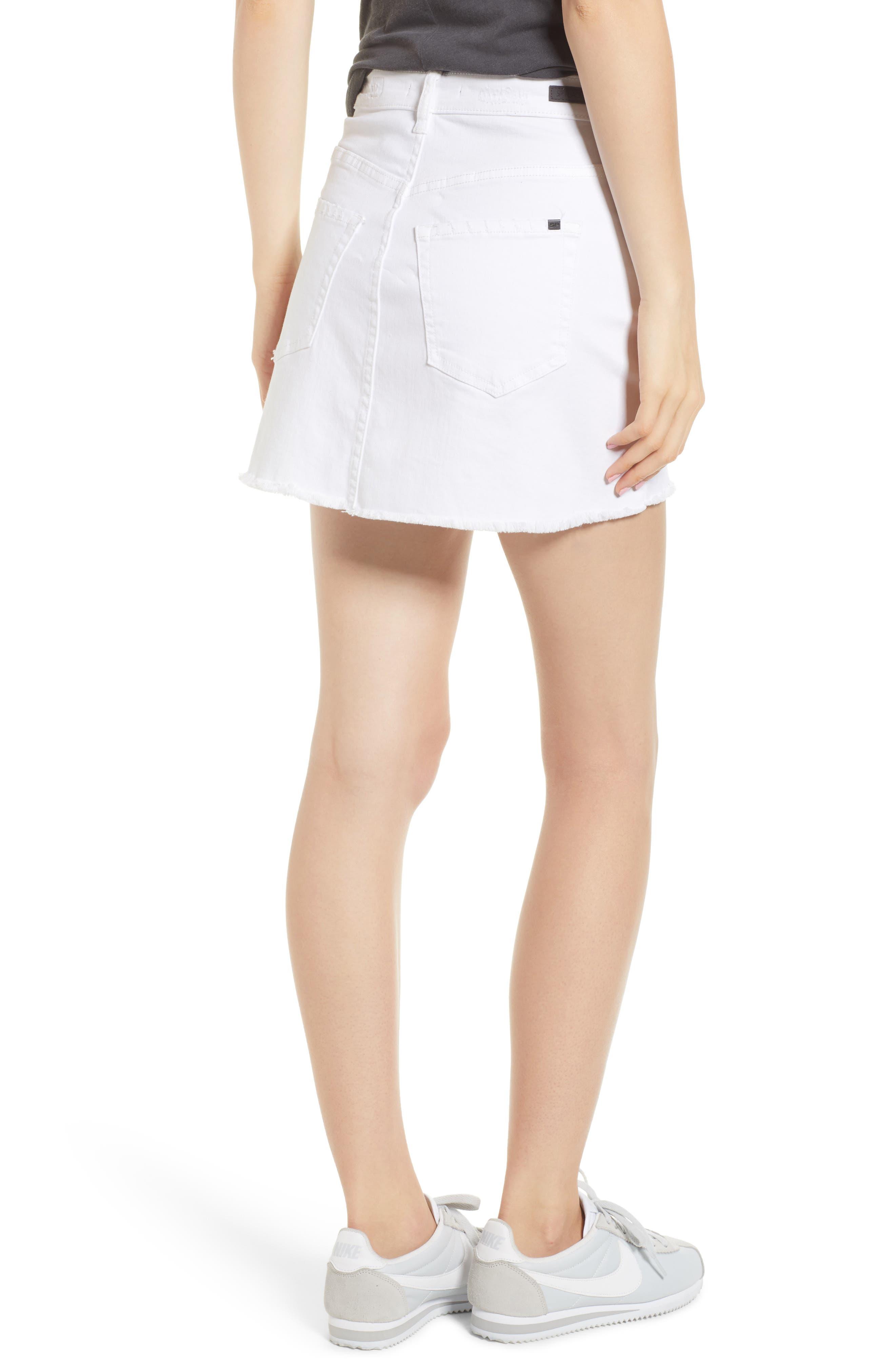 Raw Hem Denim Miniskirt,                             Alternate thumbnail 2, color,                             100