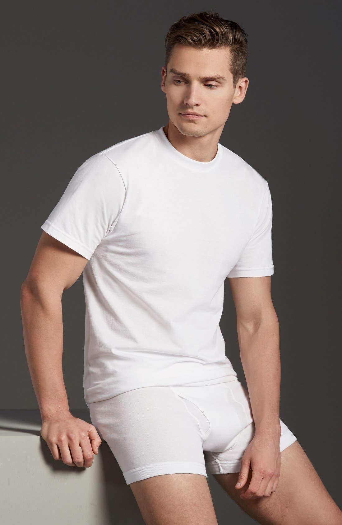 NORDSTROM MEN'S SHOP,                             Regular Fit 4-Pack Supima<sup>®</sup> Cotton T-Shirts,                             Alternate thumbnail 10, color,                             WHITE