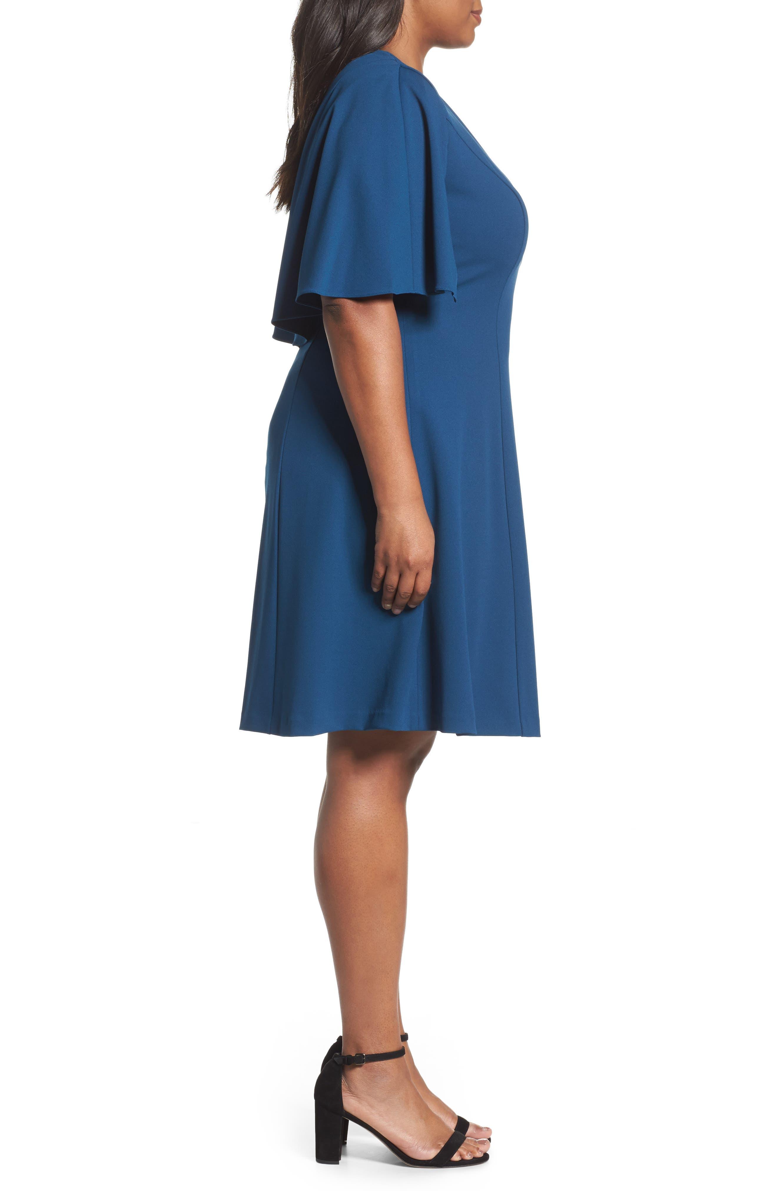 Capelet A-Line Dress,                             Alternate thumbnail 3, color,                             471