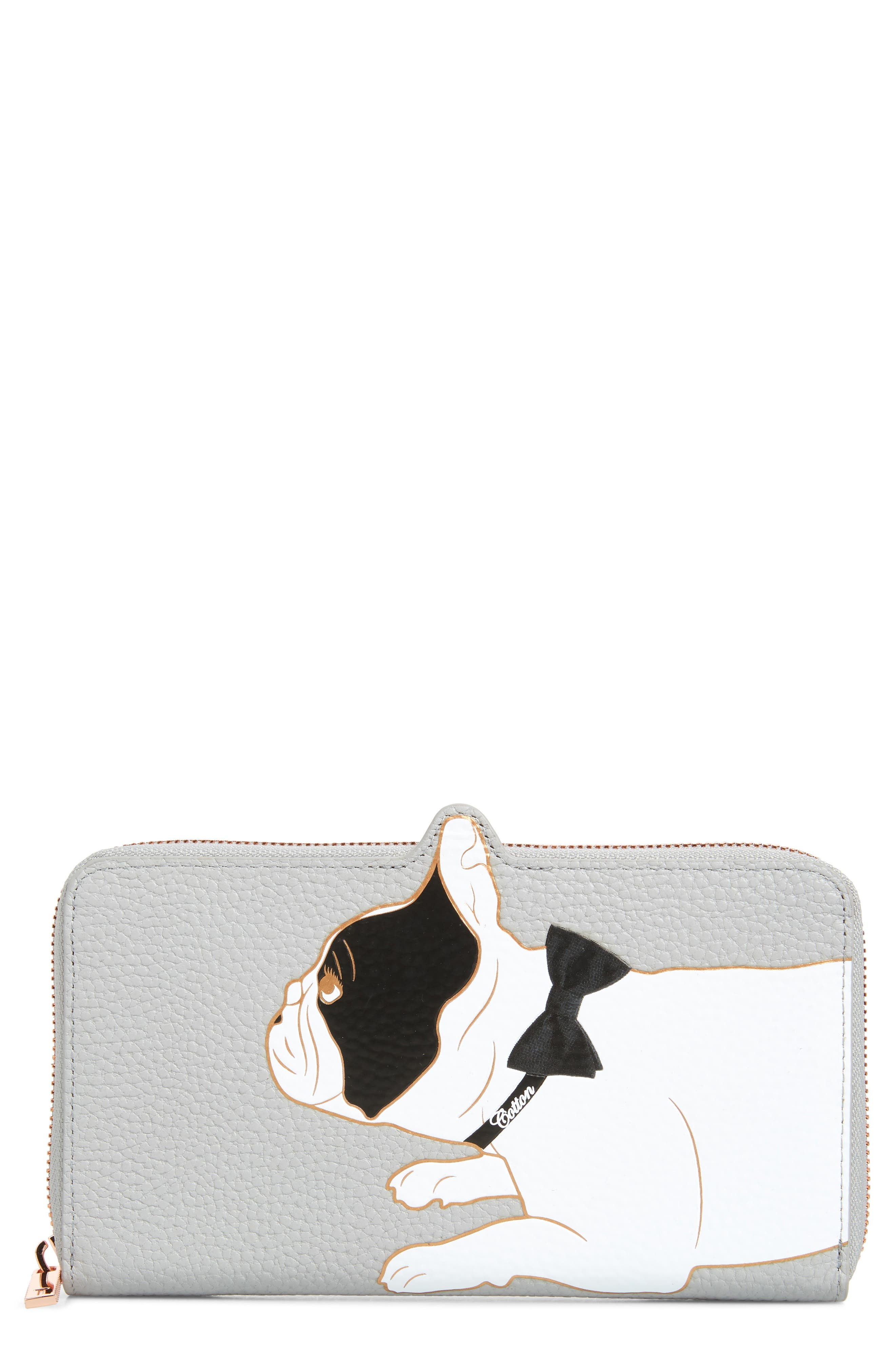 TED BAKER LONDON,                             Rumi Cotton Dog Zip Around Wallet,                             Main thumbnail 1, color,                             GREY