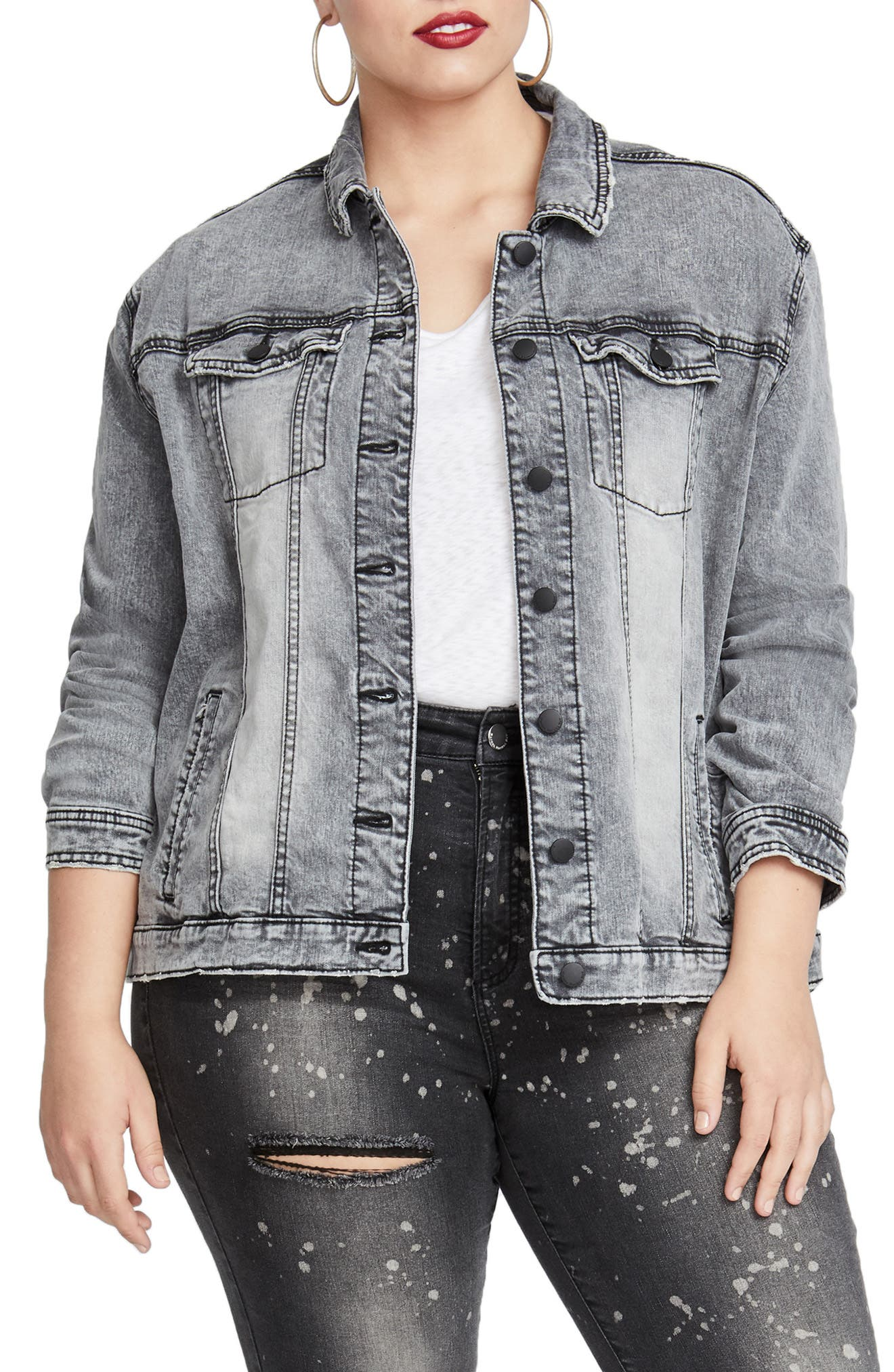 Oversize Denim Jacket,                             Main thumbnail 1, color,                             031