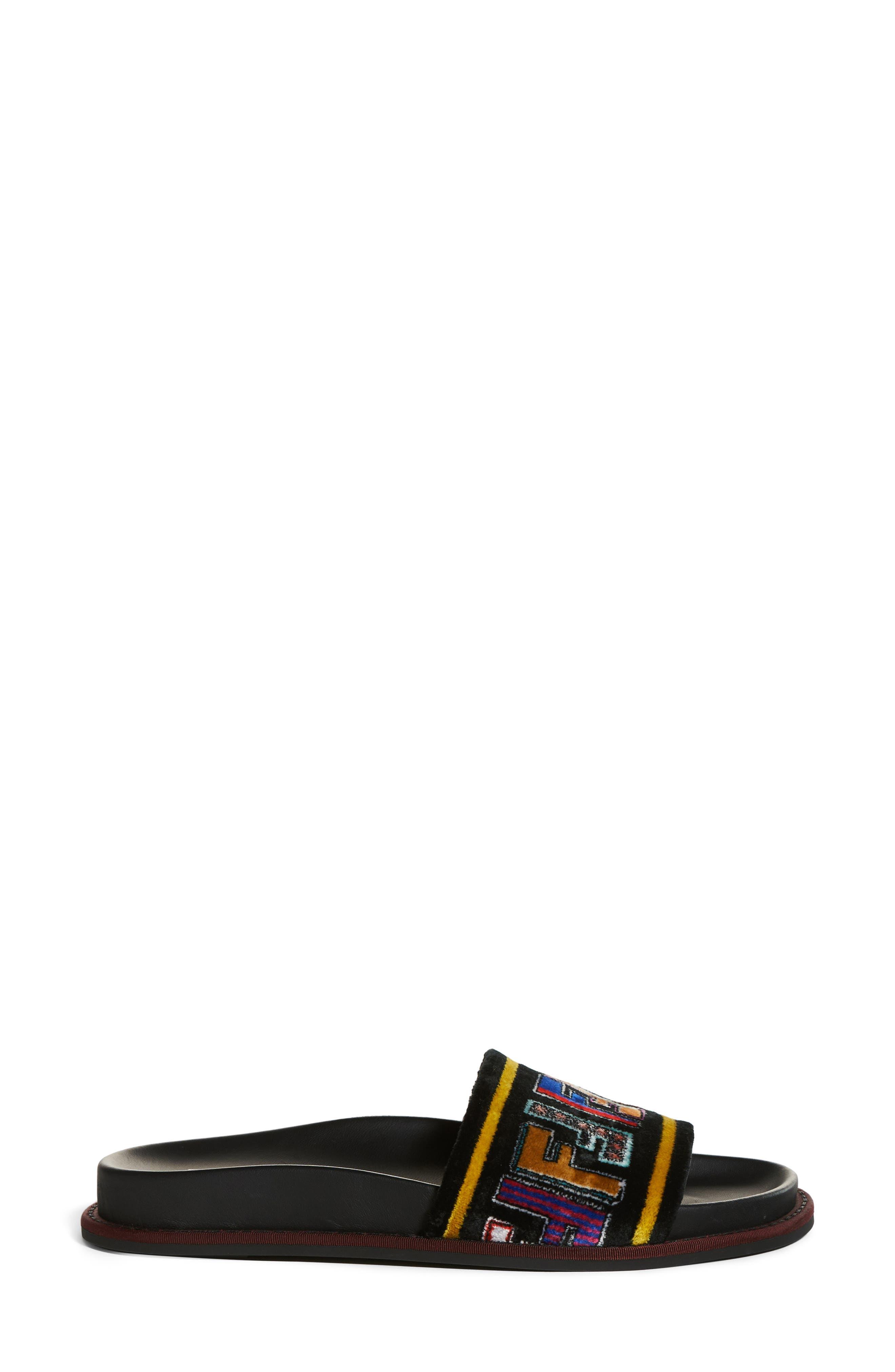 Fun Genuine Mink Fur Logo Slide Sandal,                             Alternate thumbnail 3, color,                             014