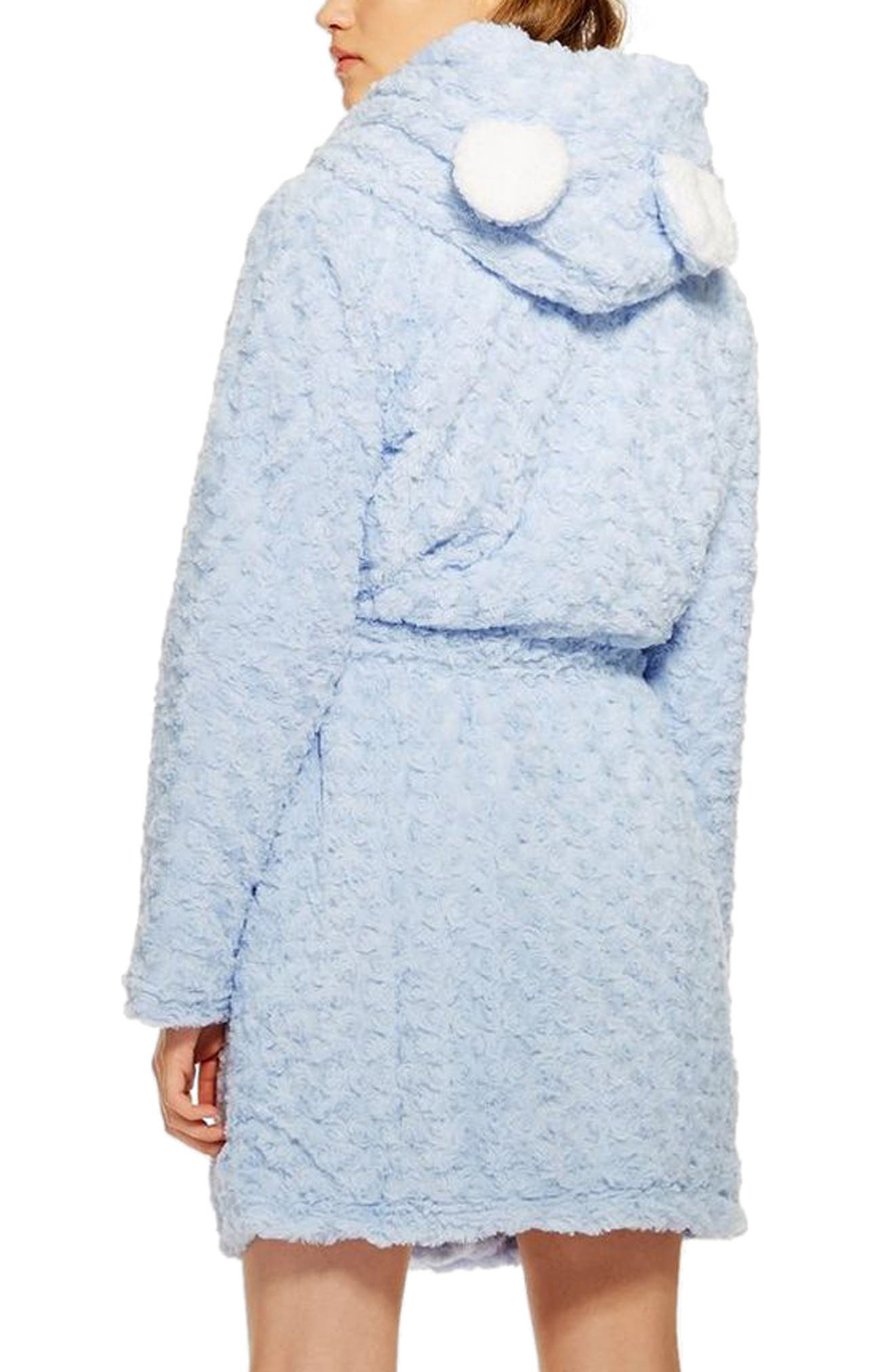 Fluffy Faux Fur Hooded Robe,                             Alternate thumbnail 2, color,                             LIGHT BLUE
