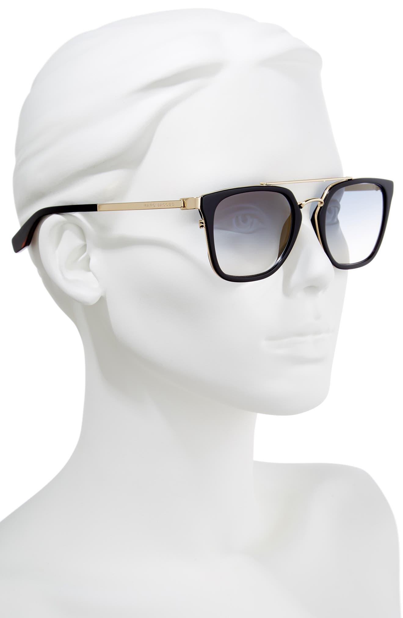 Basic 51mm Aviator Sunglasses,                             Alternate thumbnail 2, color,                             BLACK