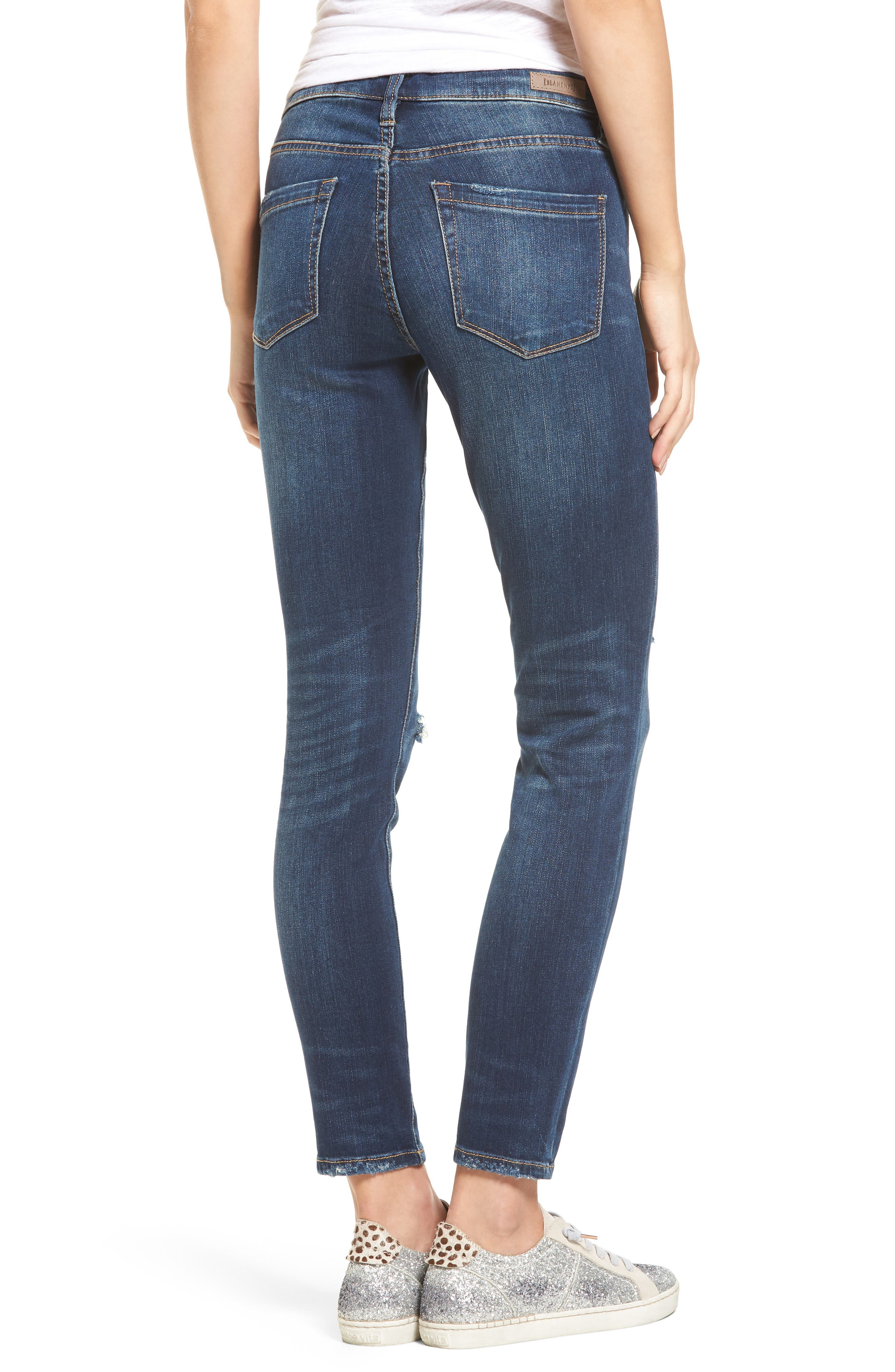 Ripped Ankle Skinny Jeans,                             Alternate thumbnail 2, color,