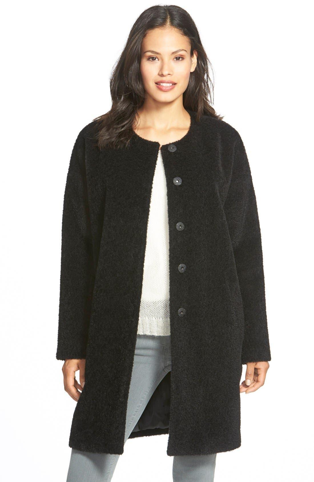 Wool & Alpaca Blend Collarless Coat,                             Main thumbnail 1, color,                             001