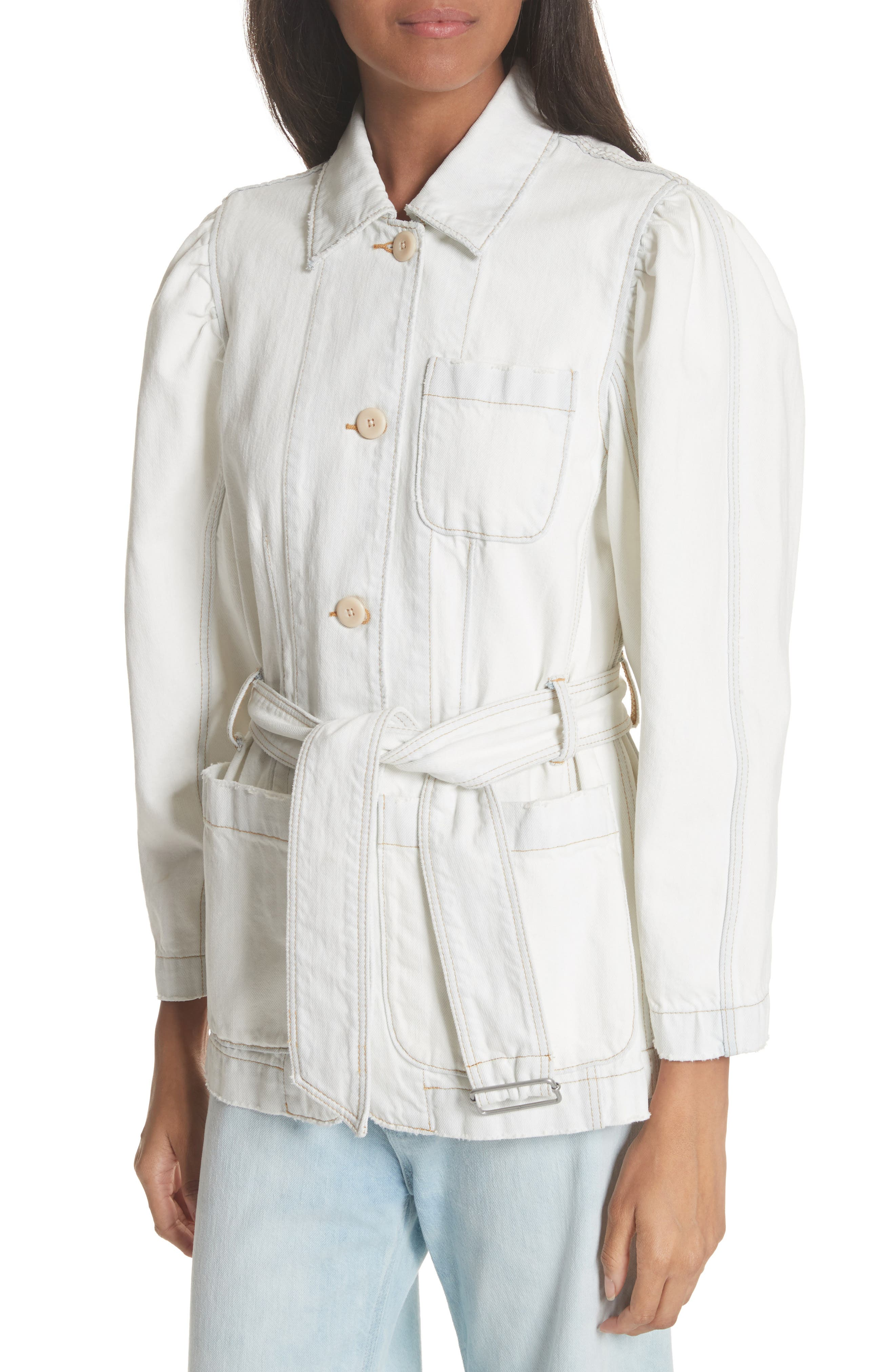 Belted Denim Jacket,                             Alternate thumbnail 4, color,                             185