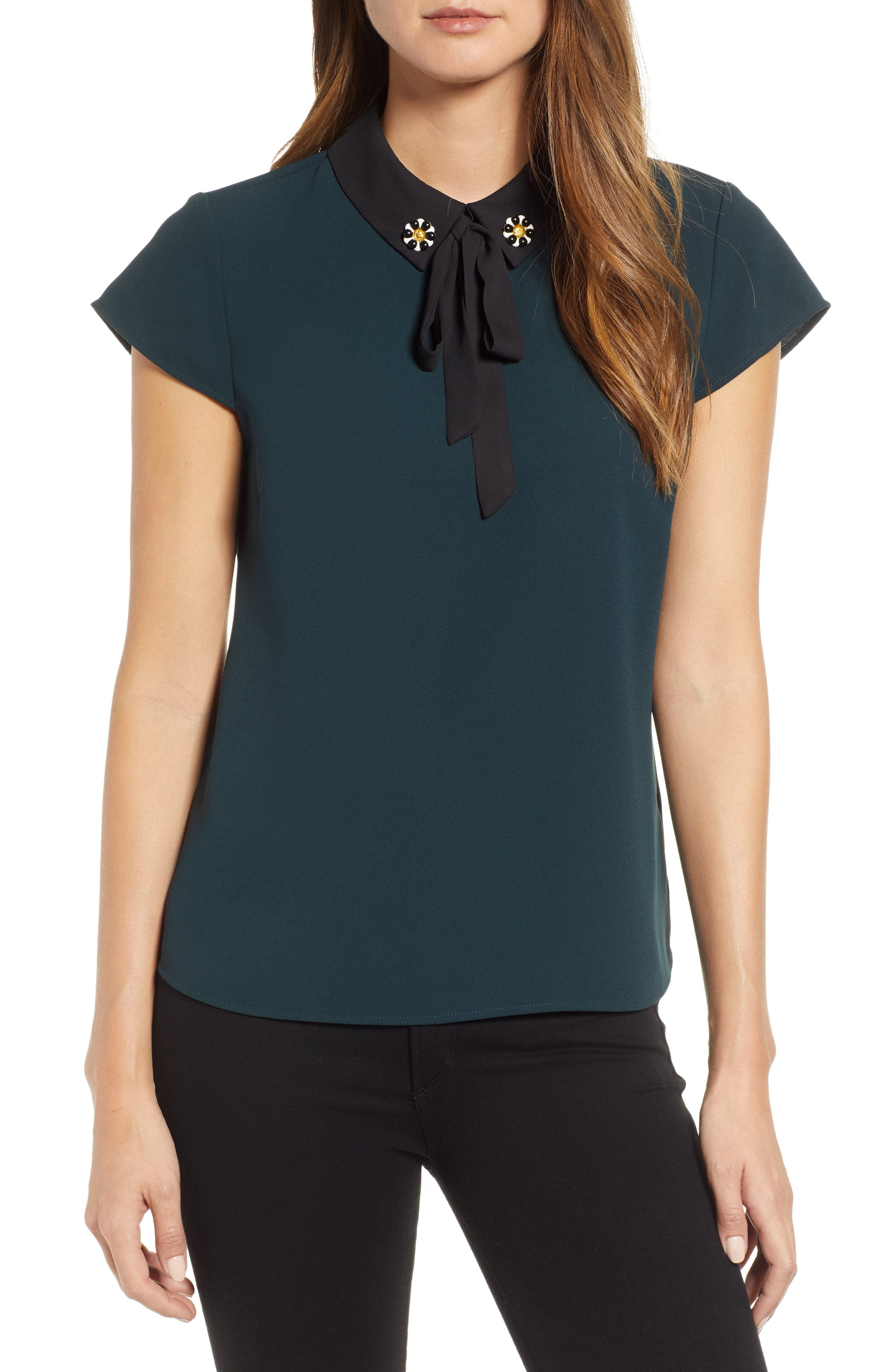 Embellished Bow Collar Blouse,                             Main thumbnail 1, color,                             305