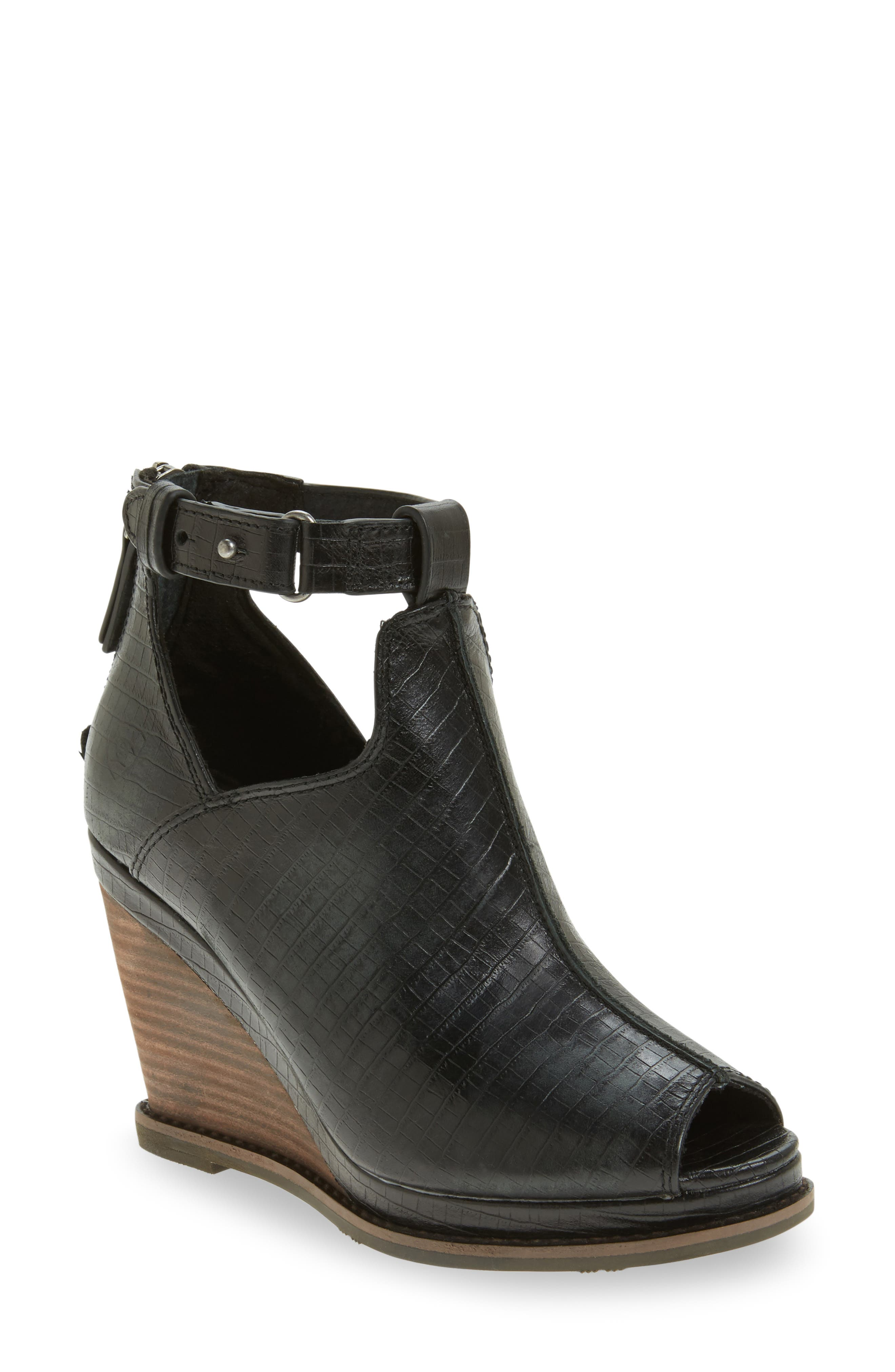 Backstage Wedge Bootie,                             Main thumbnail 1, color,                             001