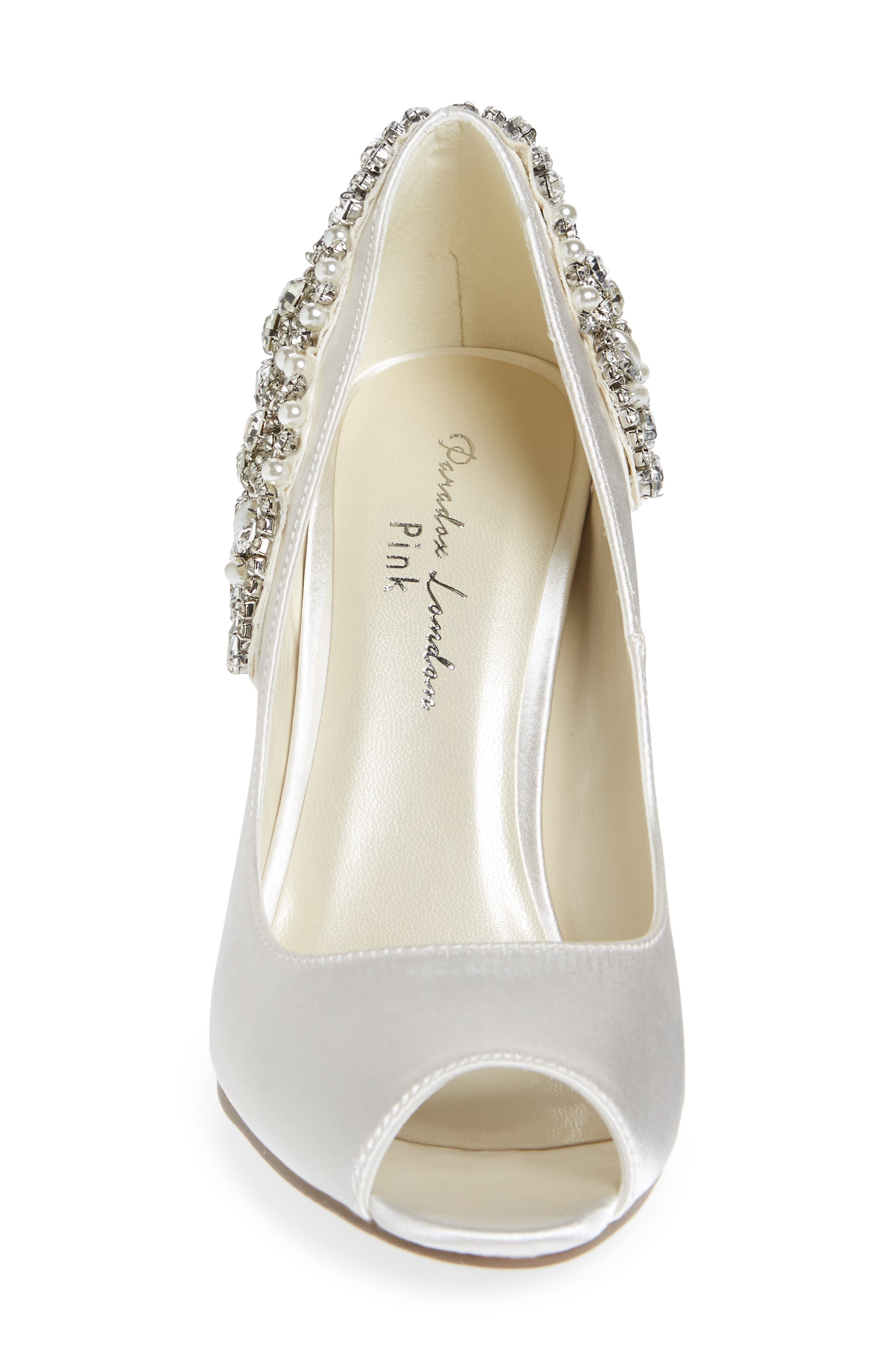 Cynthia Embellished Pump,                             Alternate thumbnail 4, color,                             IVORY SATIN