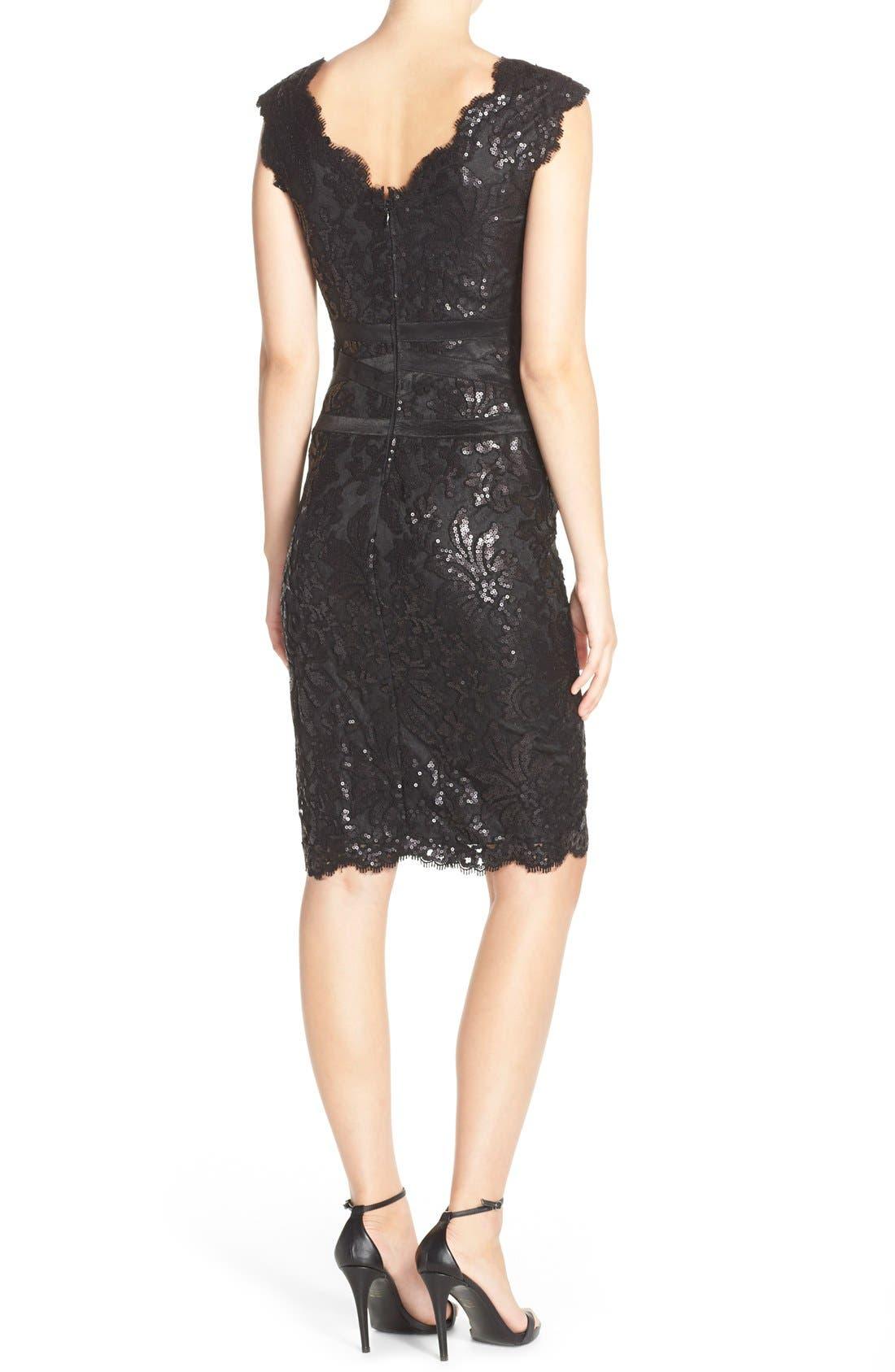 Sequin Lace Sheath Dress,                             Alternate thumbnail 5, color,                             001