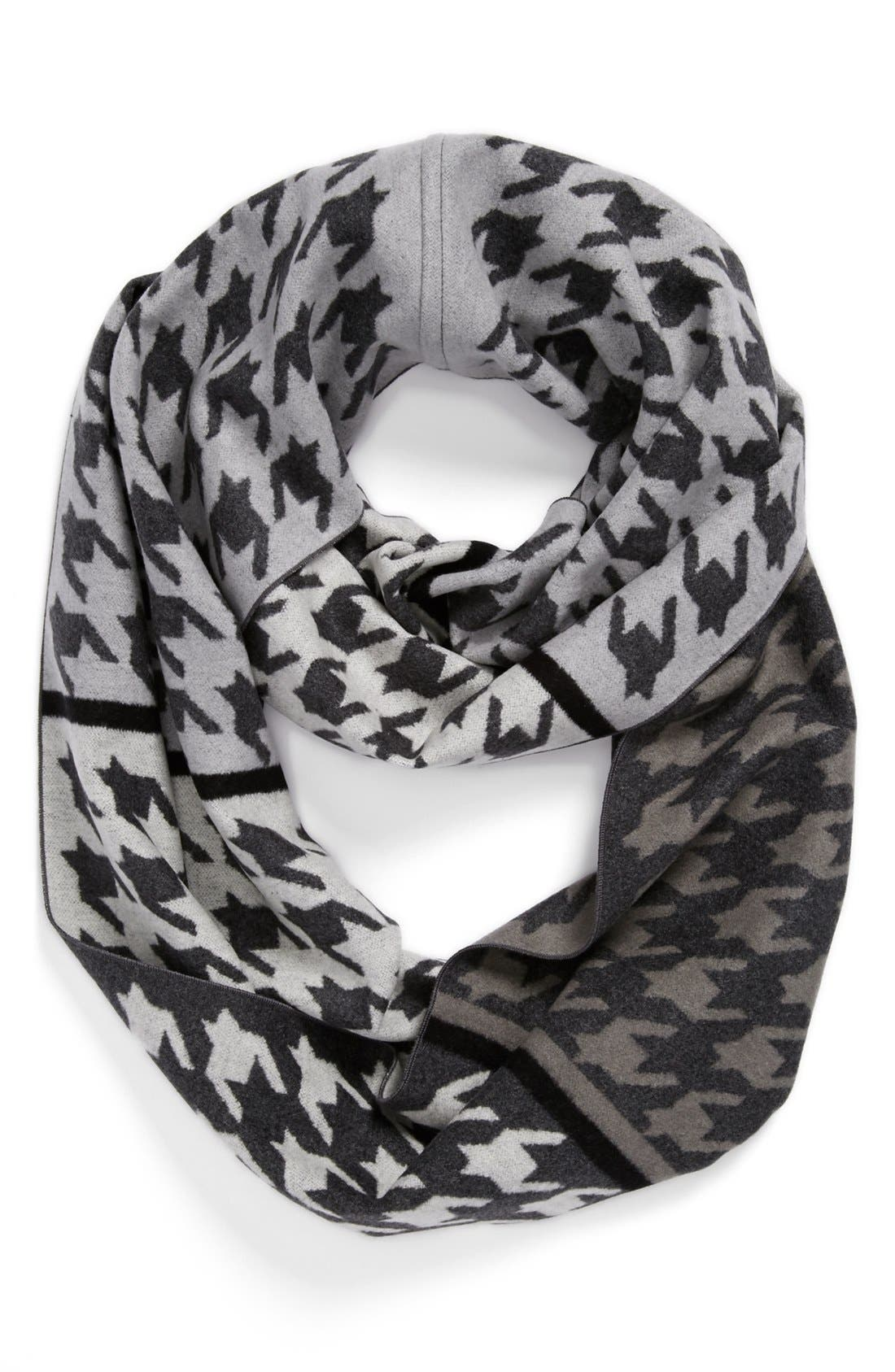 'Large Houndstooth' Silk Infinity Scarf, Main, color, 020