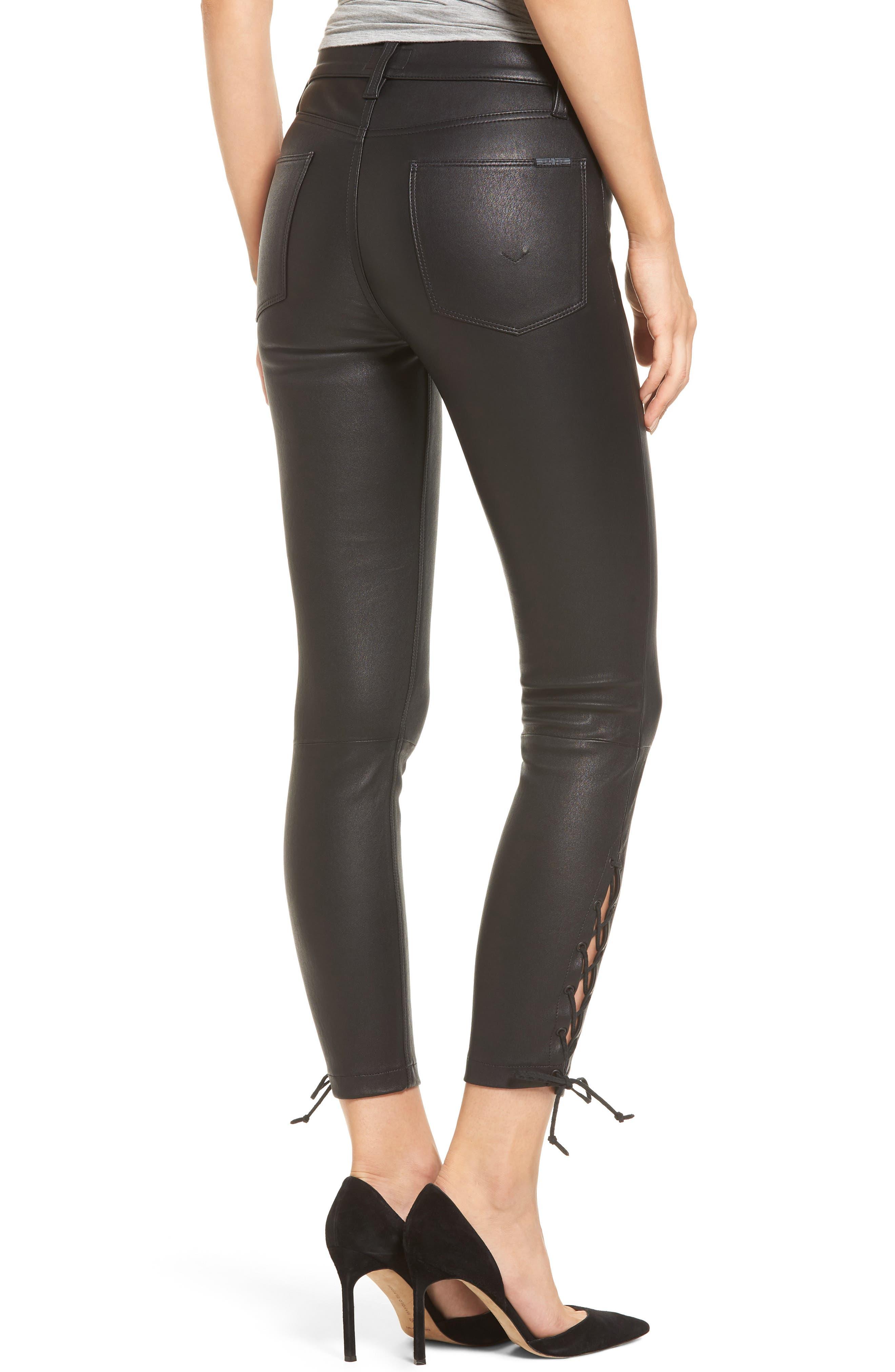 Nix High Waist Leather Skinny Pants,                             Alternate thumbnail 2, color,                             001