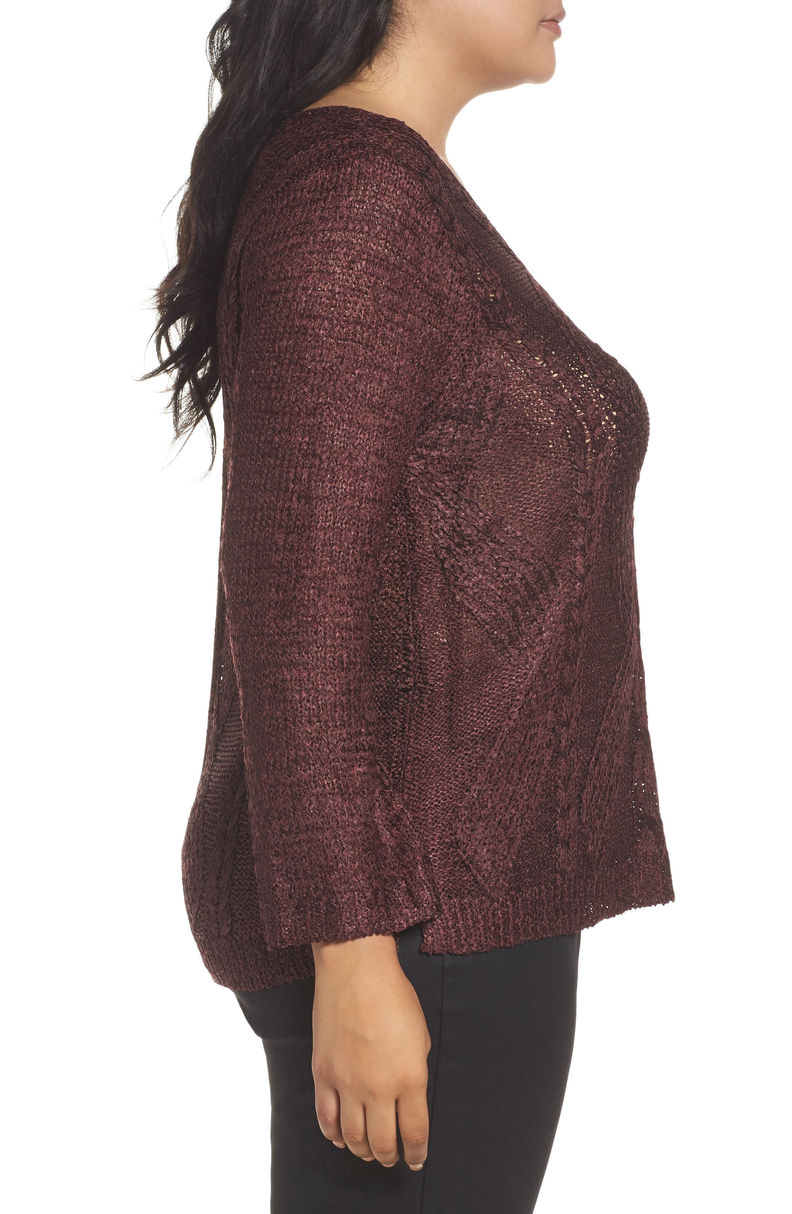 Cable Wave Sweater,                             Alternate thumbnail 6, color,