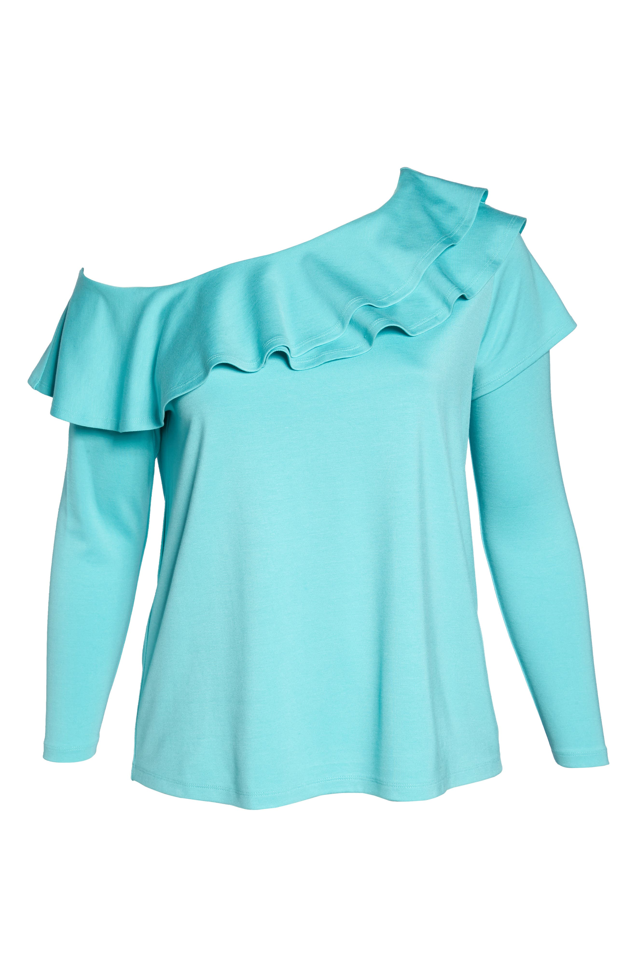 x Living in Yellow Elizabeth One-Shoulder Ruffle Top,                             Alternate thumbnail 23, color,