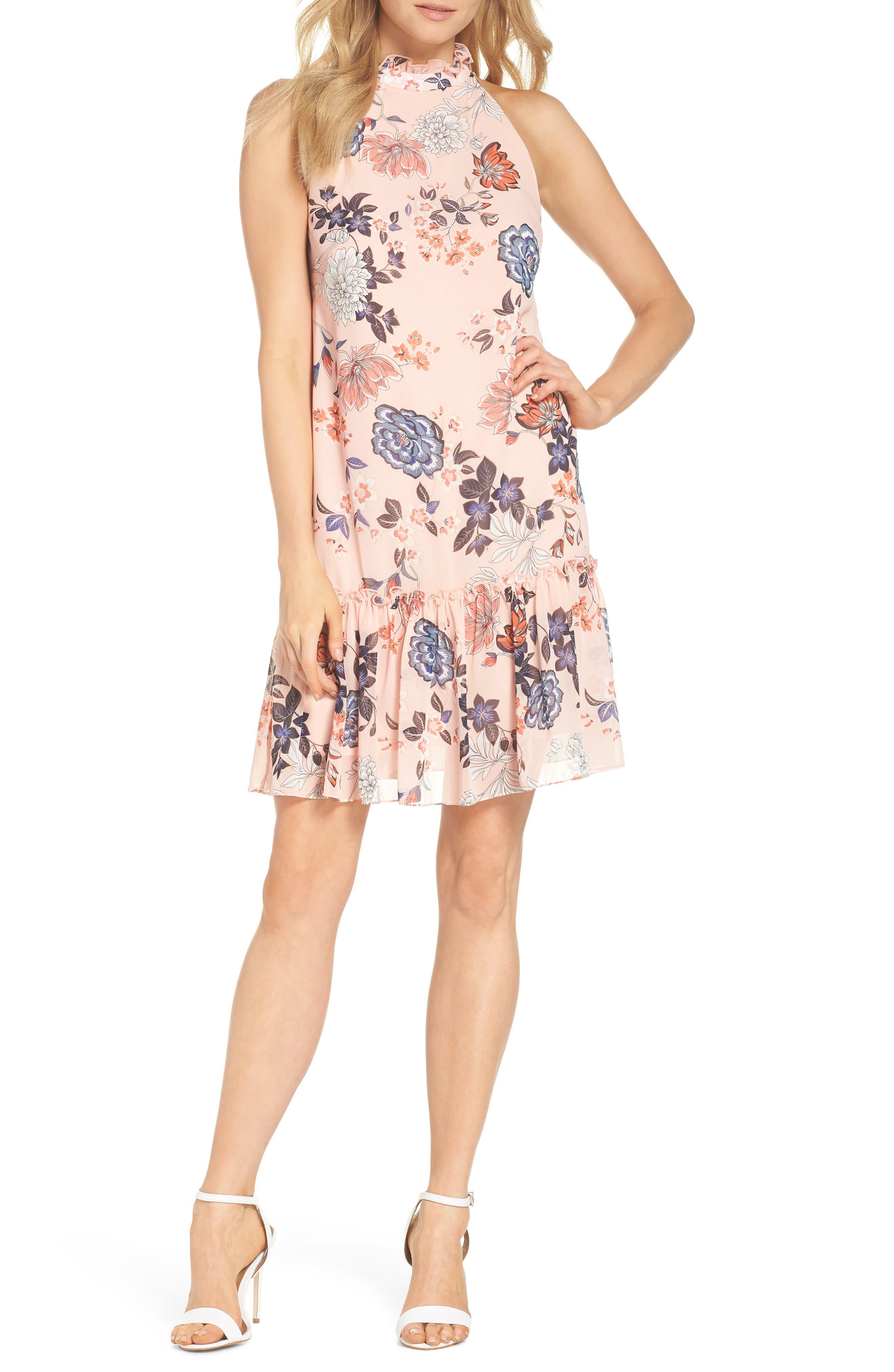 Floral Ruffle Neck Chiffon Shift Dress,                         Main,                         color, BLUSH