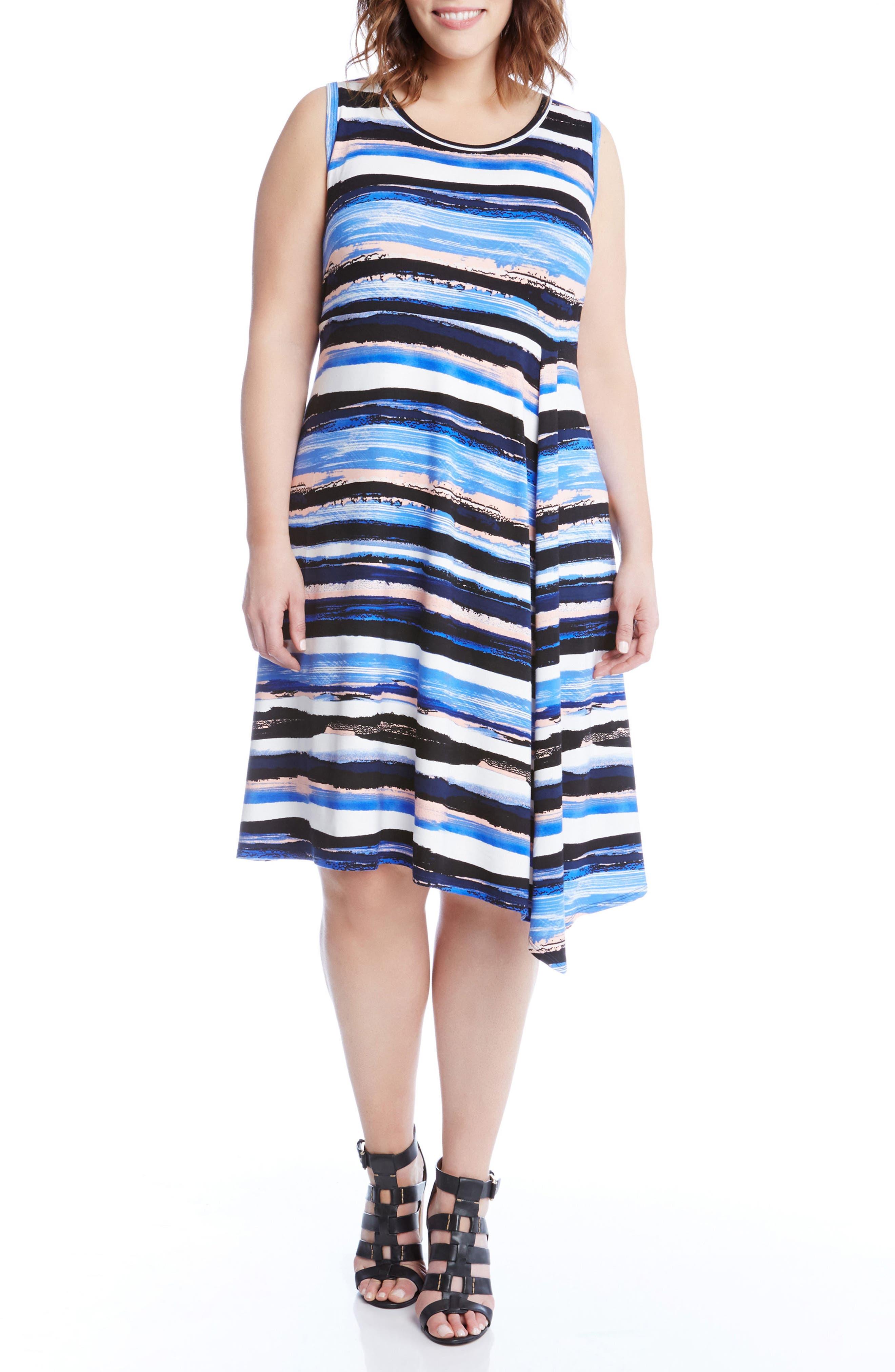 Painted Stripe A-Line Dress,                             Alternate thumbnail 3, color,                             400