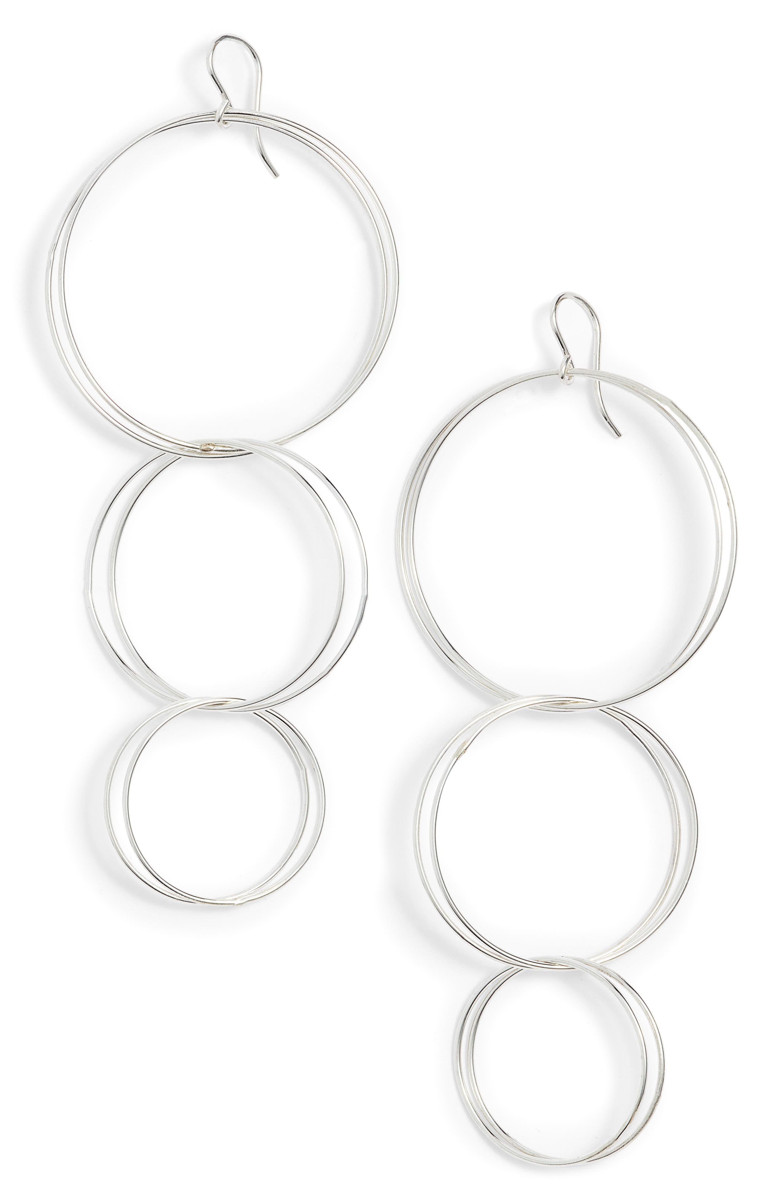 Triple Hoop Drop Earrings,                         Main,                         color, 040