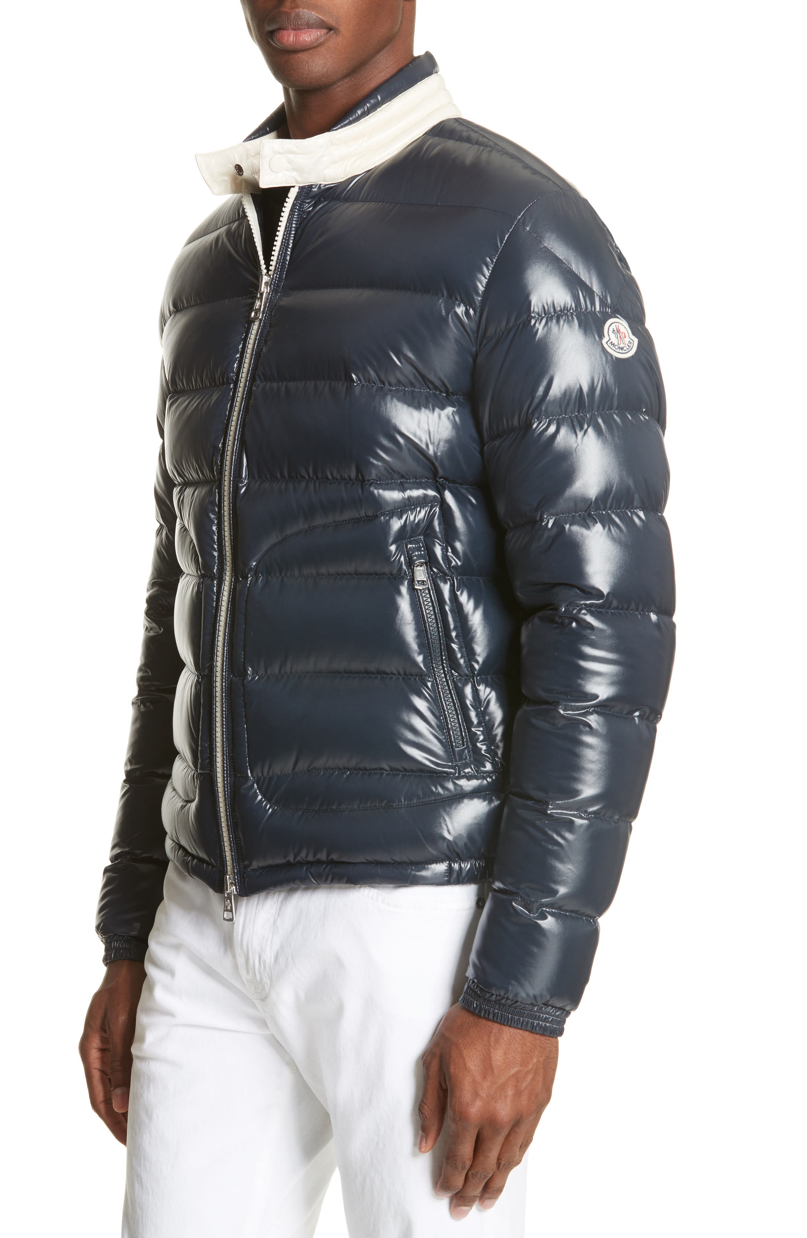 MONCLER Aubert Giubbotto Two-Tone Down Jacket, Main, color, NAVY/ WHITE