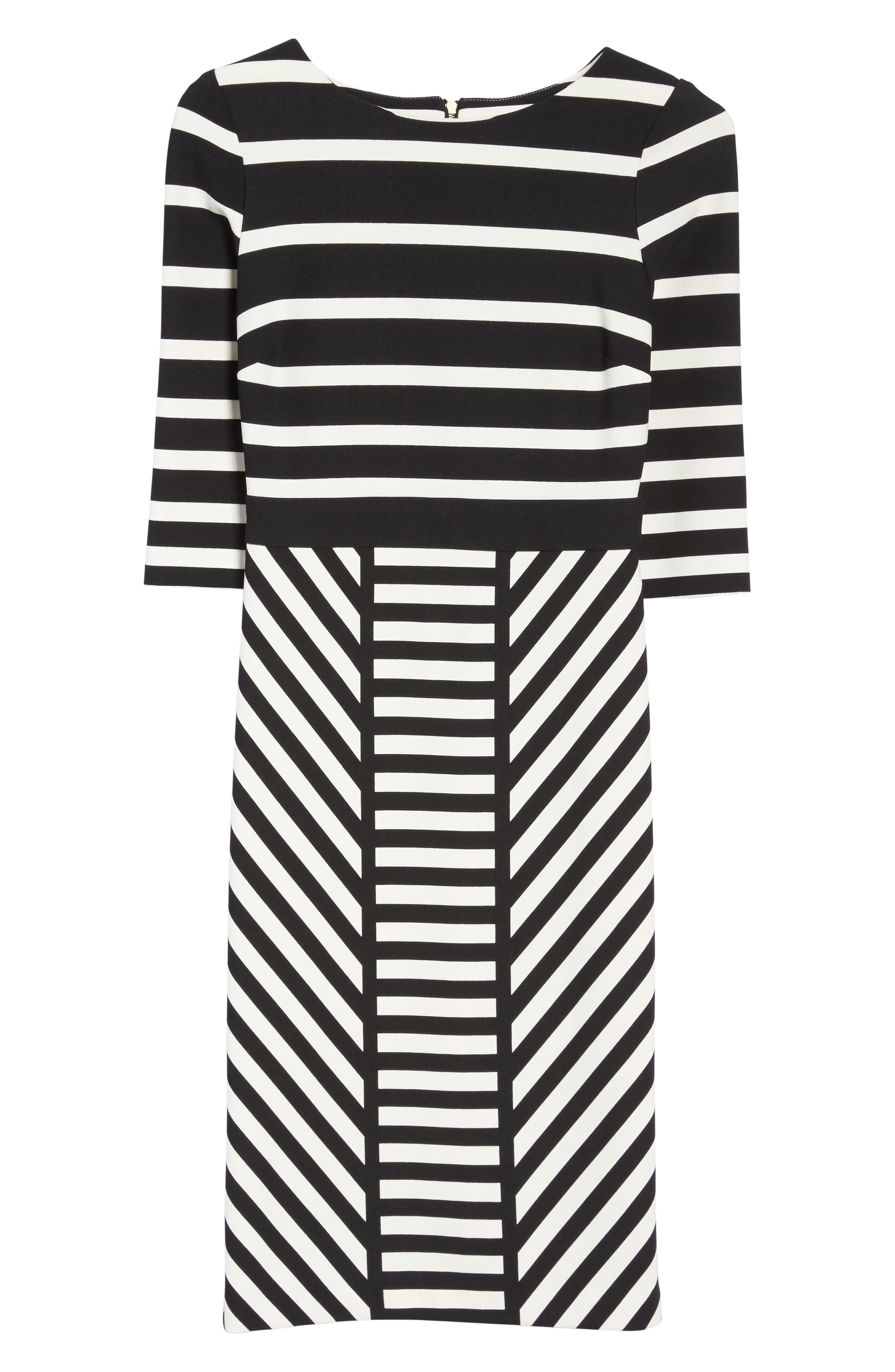 Stripe Sheath Dress,                             Alternate thumbnail 6, color,                             001