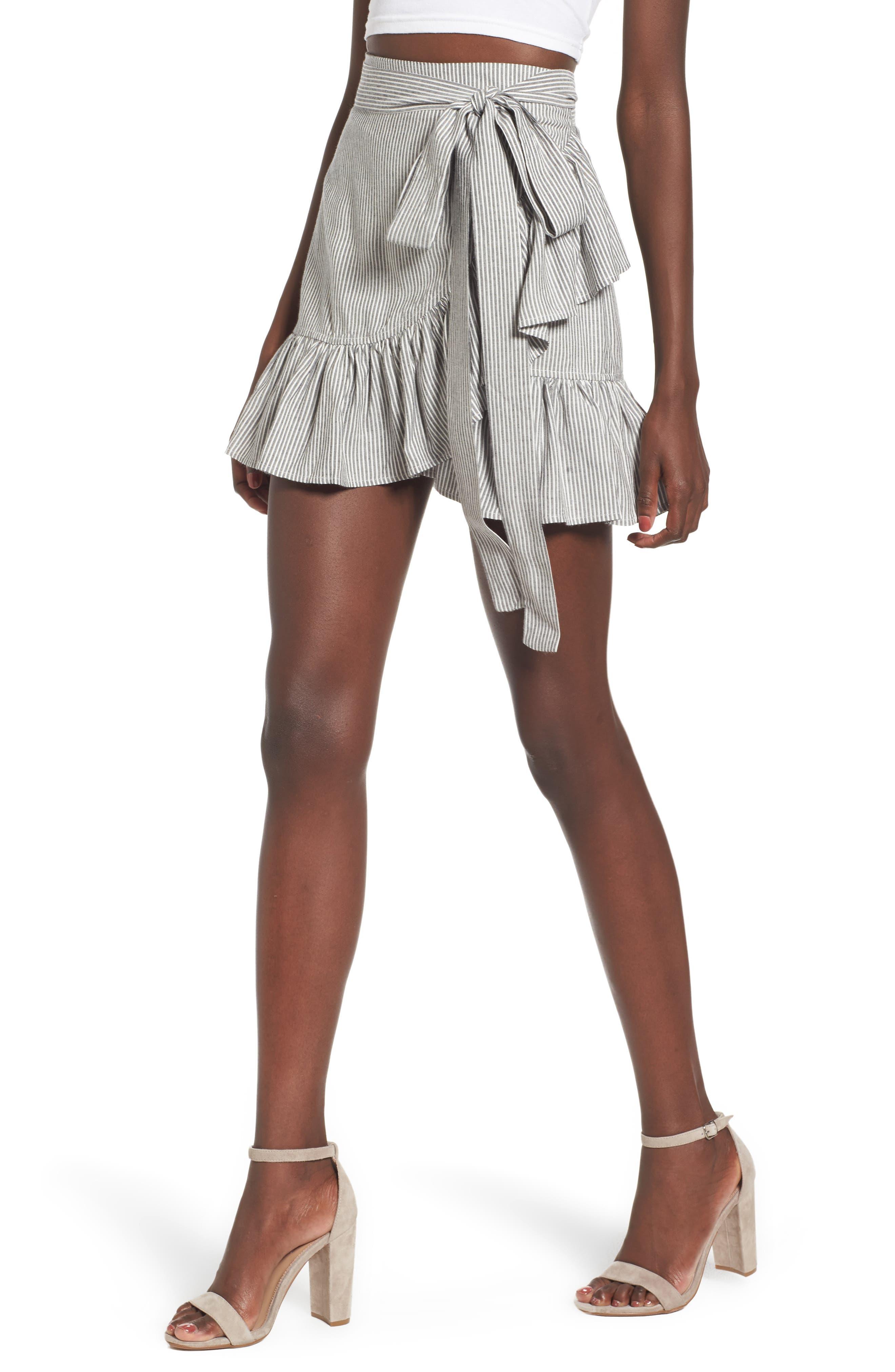 Vienna Ruffle Wrap Skirt,                             Main thumbnail 1, color,                             009