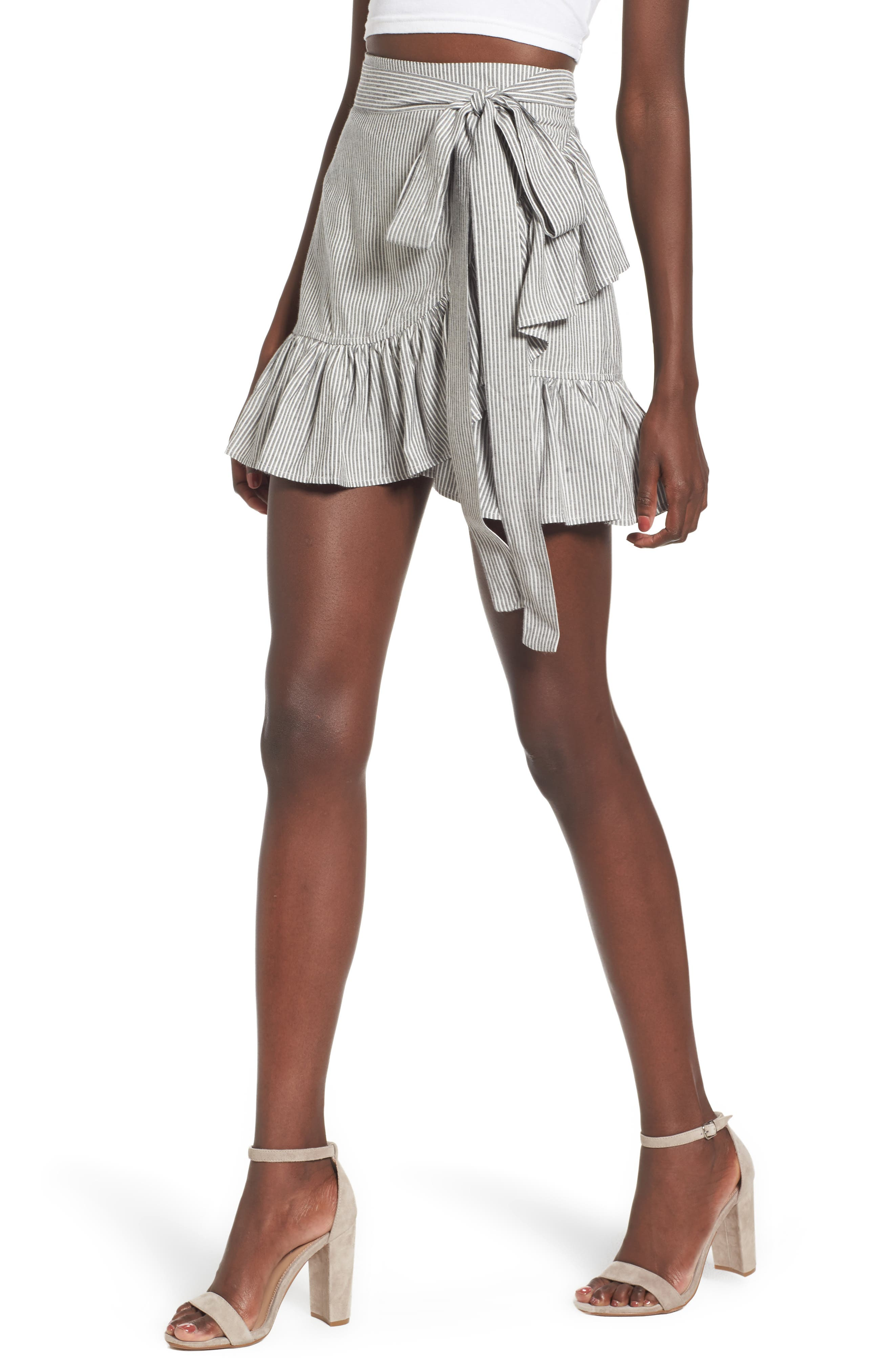 Vienna Ruffle Wrap Skirt,                         Main,                         color, 009