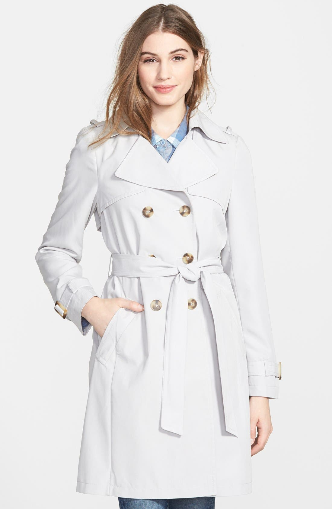 'Darcy' Drape Double Breasted Trench Coat,                             Main thumbnail 1, color,                             020