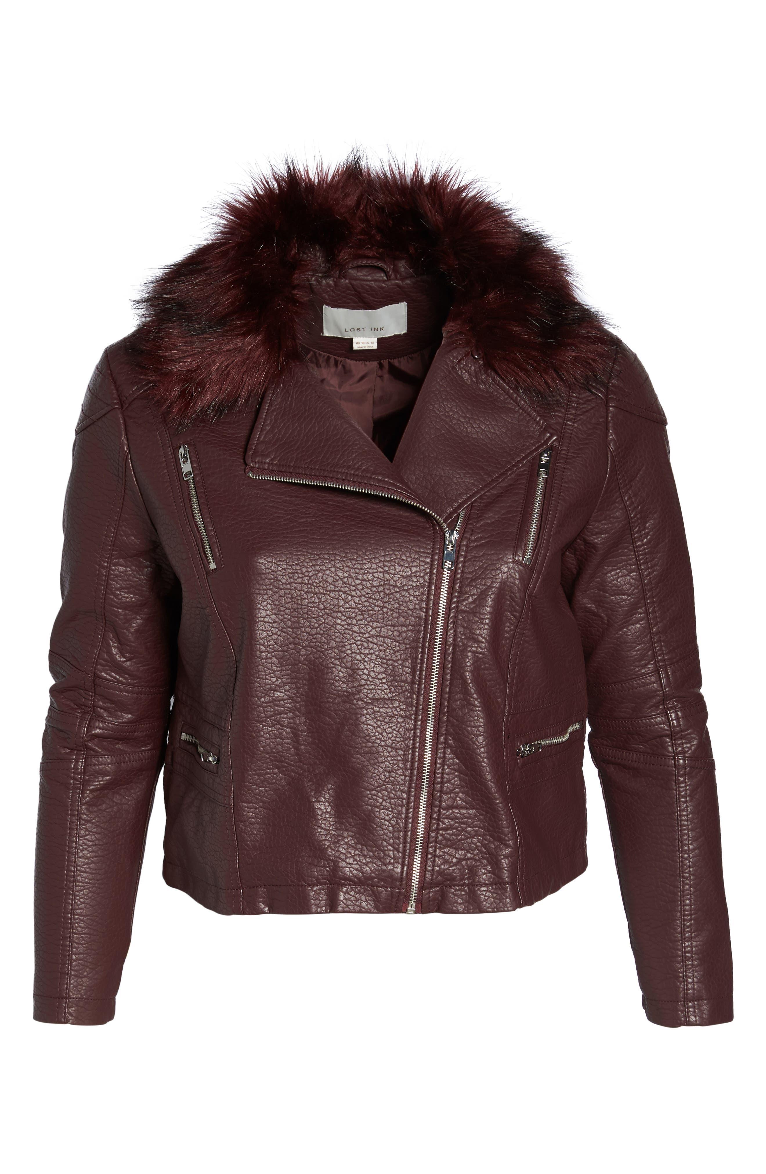 Faux Fur Trim Moto Jacket,                             Alternate thumbnail 5, color,                             601