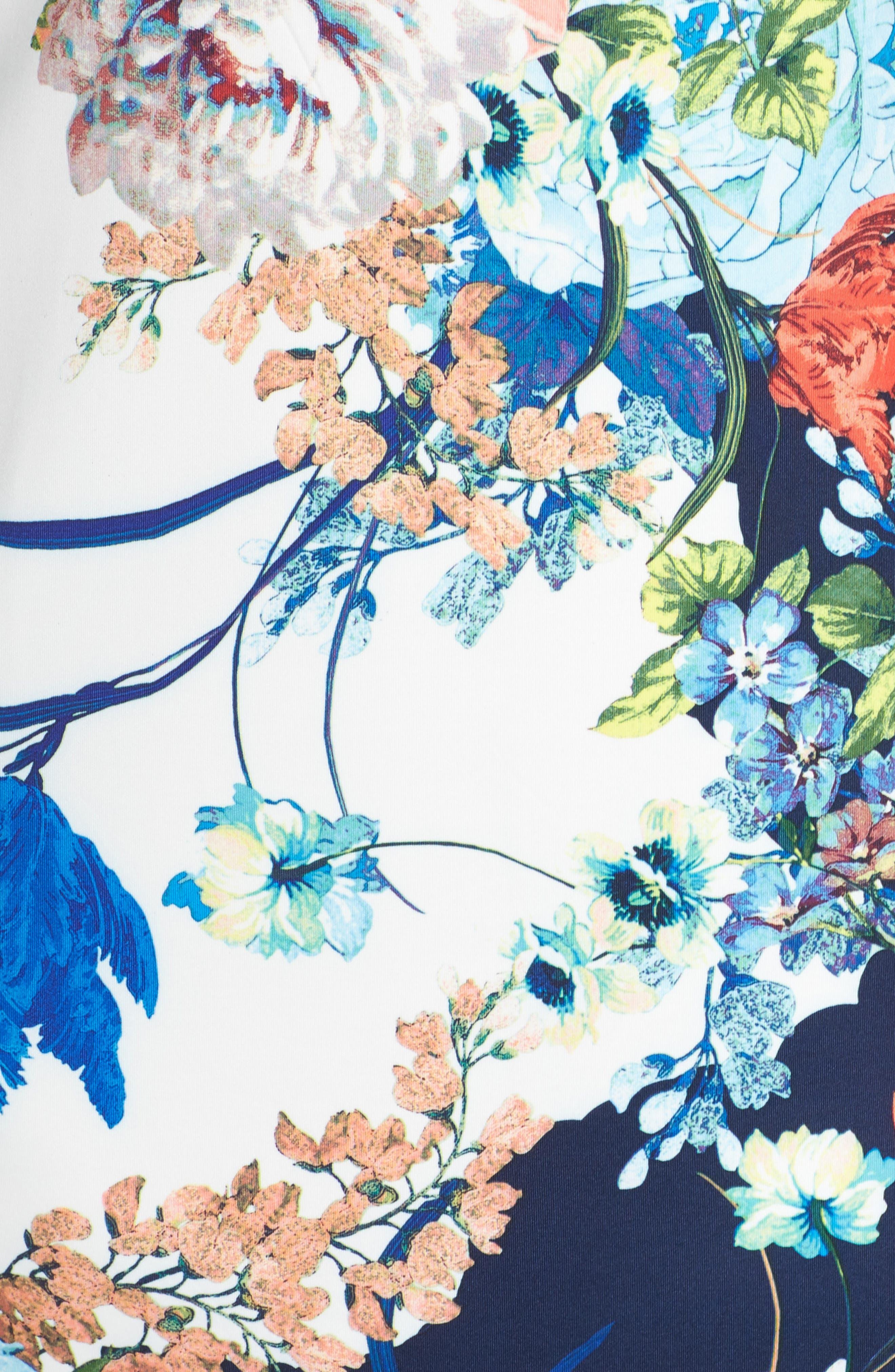 Floral Jersey Sheath Dress,                             Alternate thumbnail 5, color,                             436