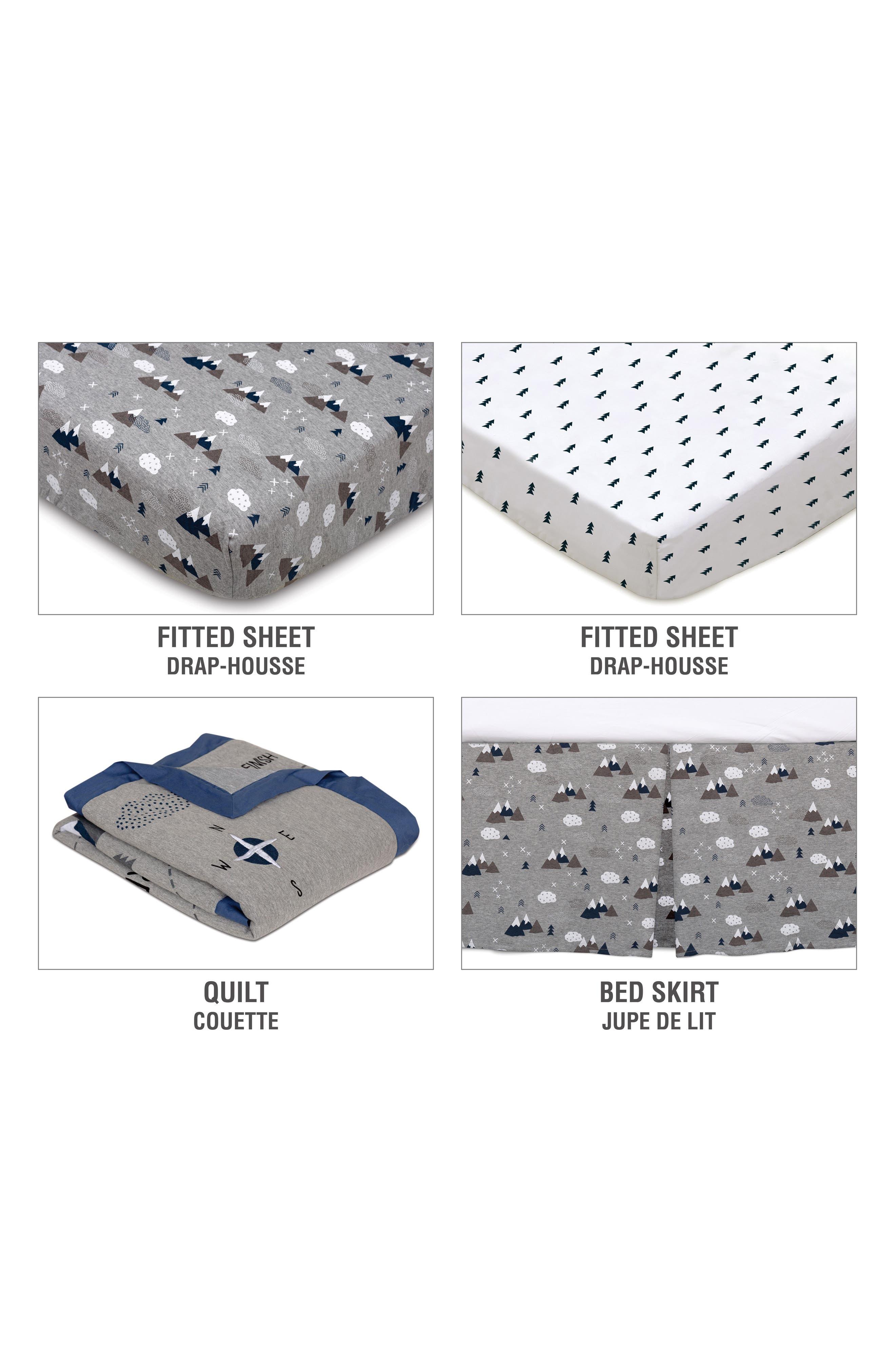 LIVING TEXTILES,                             Peaks 4-Piece Crib Bedding Set,                             Alternate thumbnail 3, color,                             PEAKS