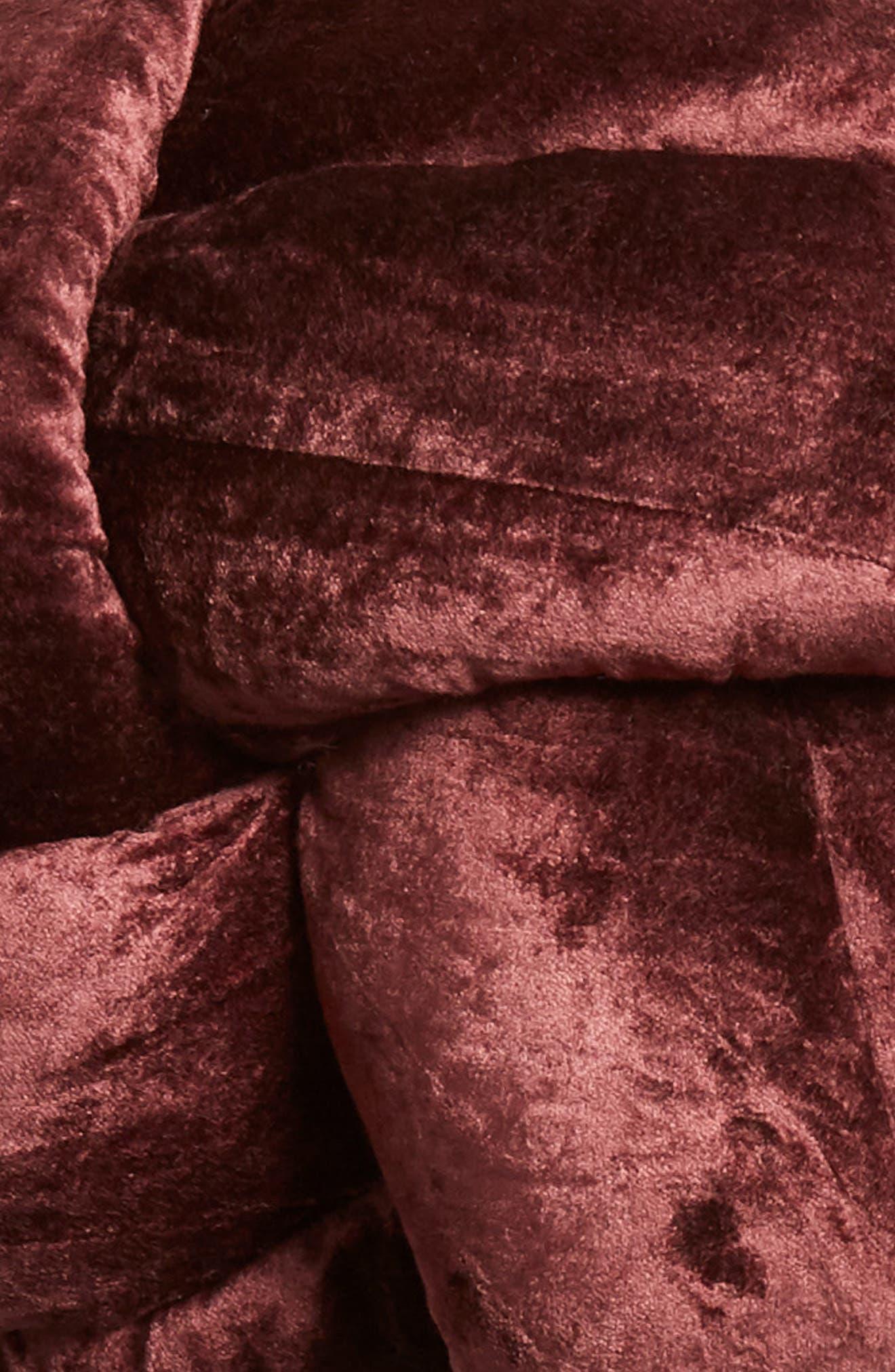 Velvet Knot Accent Pillow,                             Alternate thumbnail 3, color,                             BURGUNDY STEM