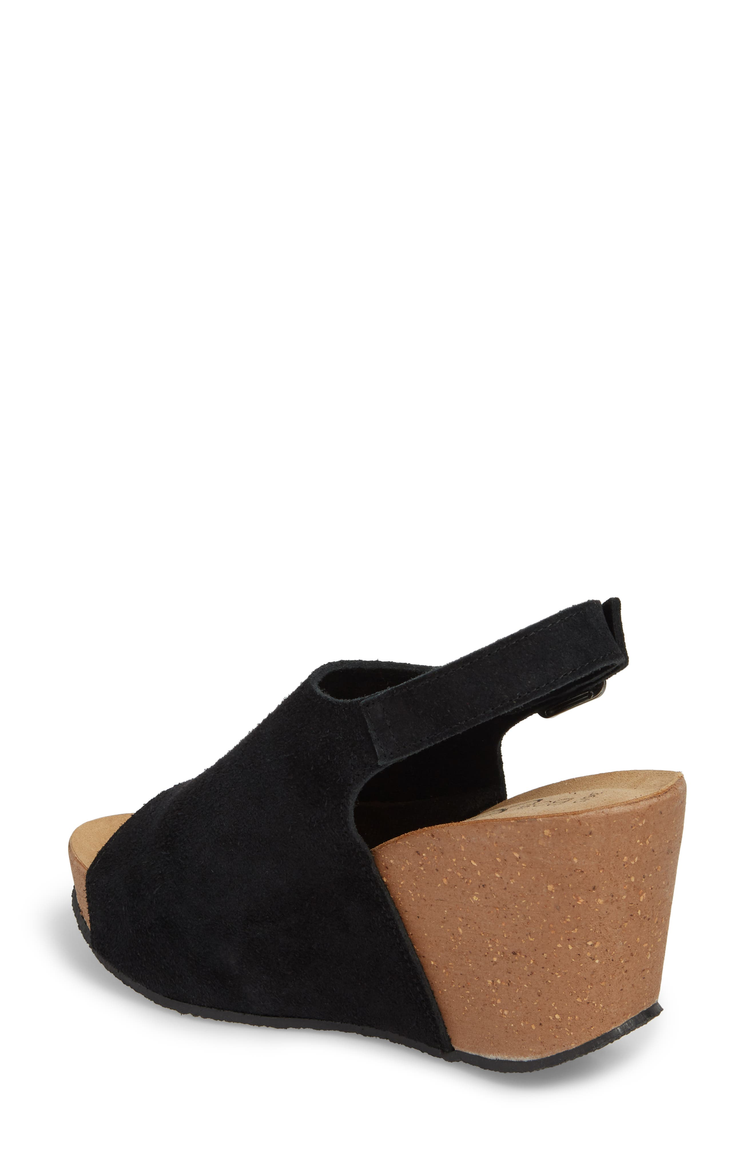 BOS. & CO.,                             Sheila Platform Wedge Sandal,                             Alternate thumbnail 2, color,                             BLACK NUBUCK