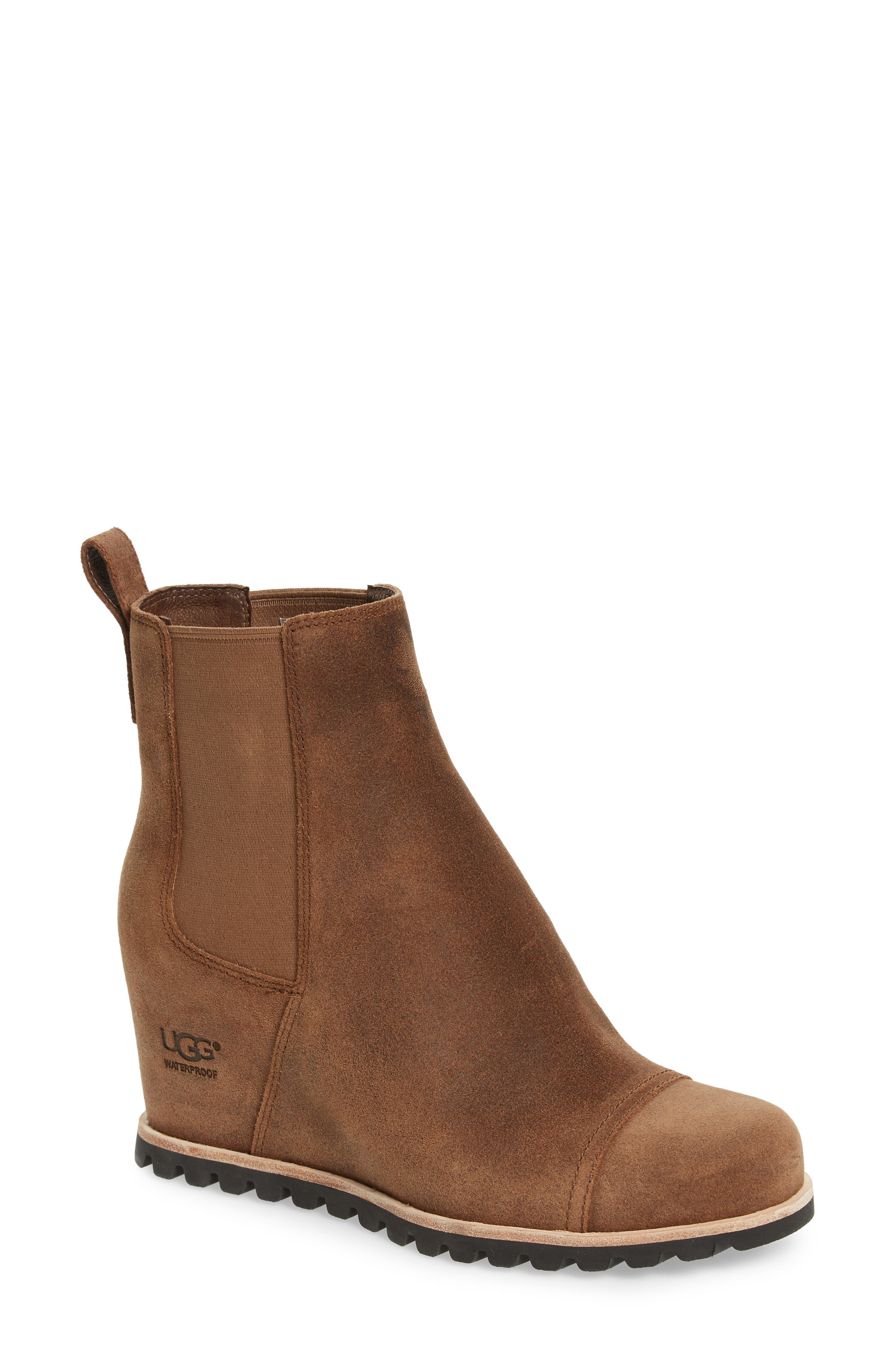 Pax Waterproof Wedge Boot,                             Main thumbnail 1, color,                             CHIPMUNK LEATHER