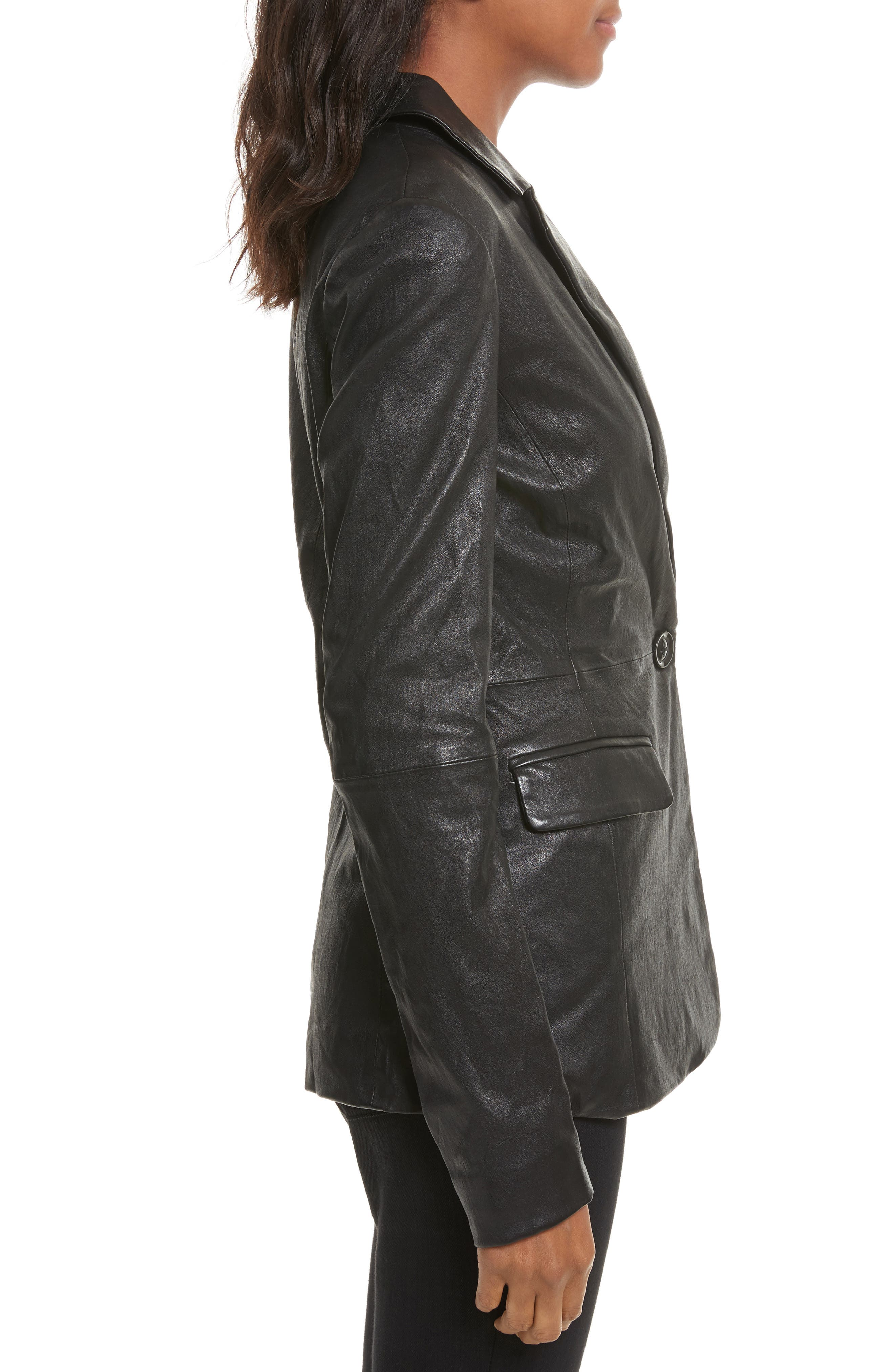 Leather Jacket,                             Alternate thumbnail 3, color,                             001