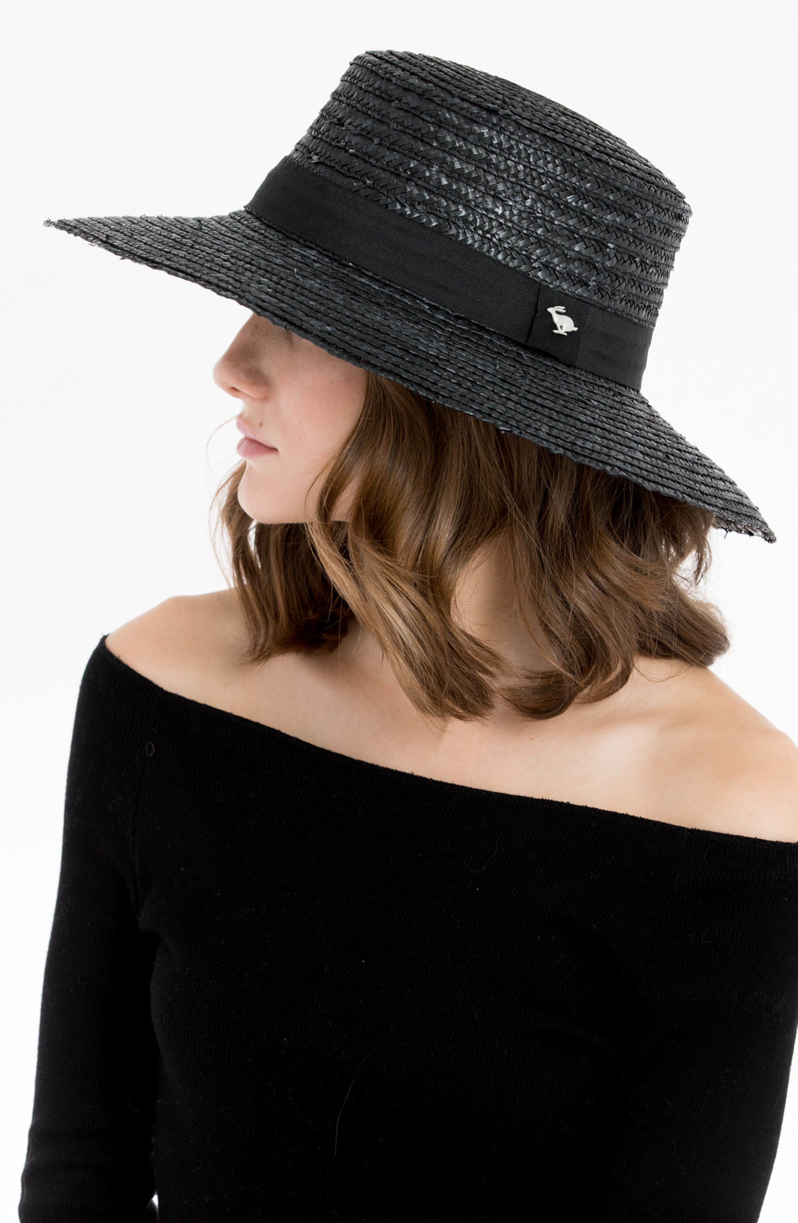 Lupe Straw Resort Hat,                             Alternate thumbnail 4, color,                             BLACK