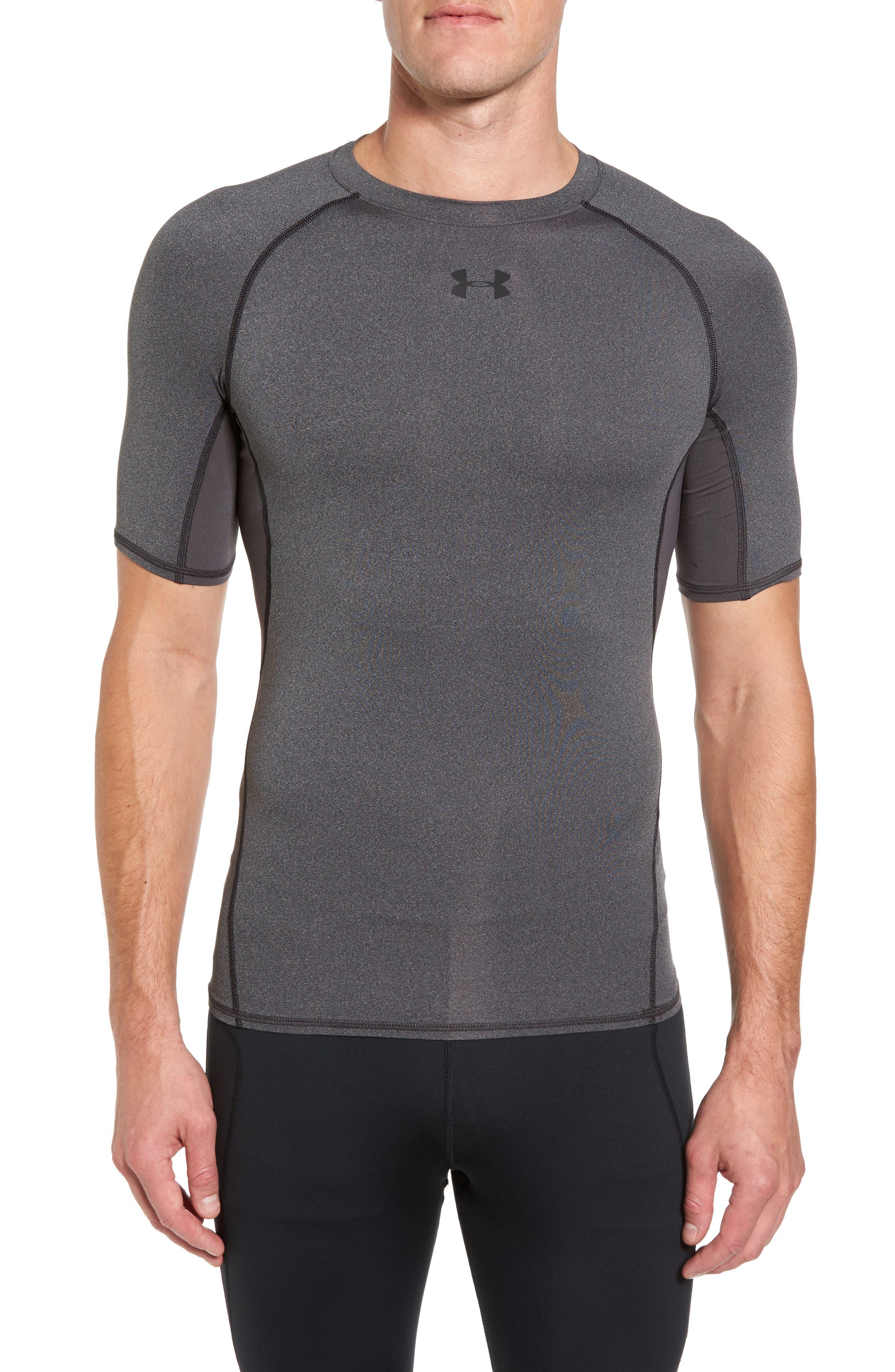 HeatGear<sup>®</sup> Compression Fit T-Shirt,                         Main,                         color, CARBON HEATHER/ BLACK