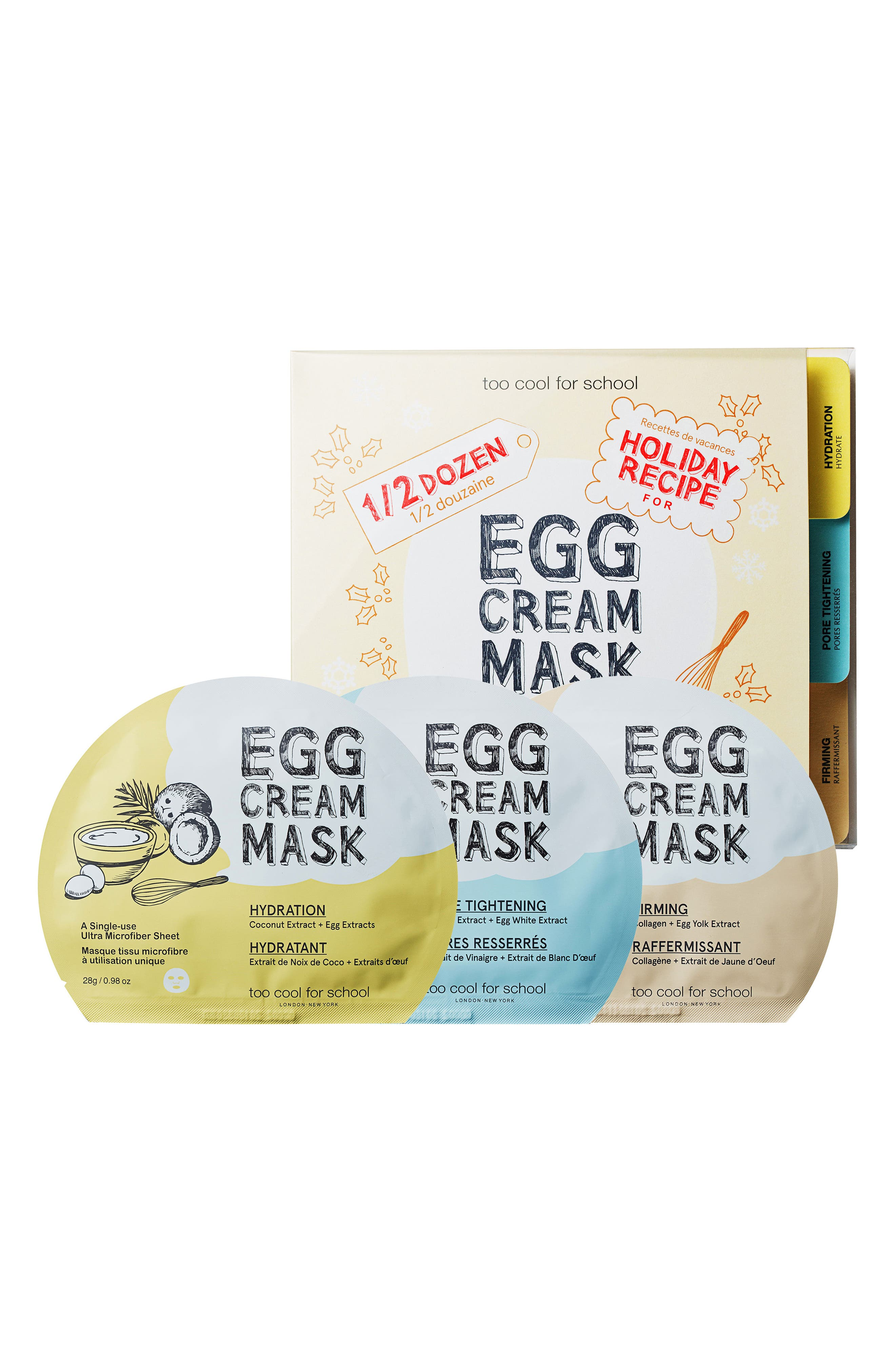 Half-Dozen Egg Cream Mask Set,                             Main thumbnail 1, color,                             000