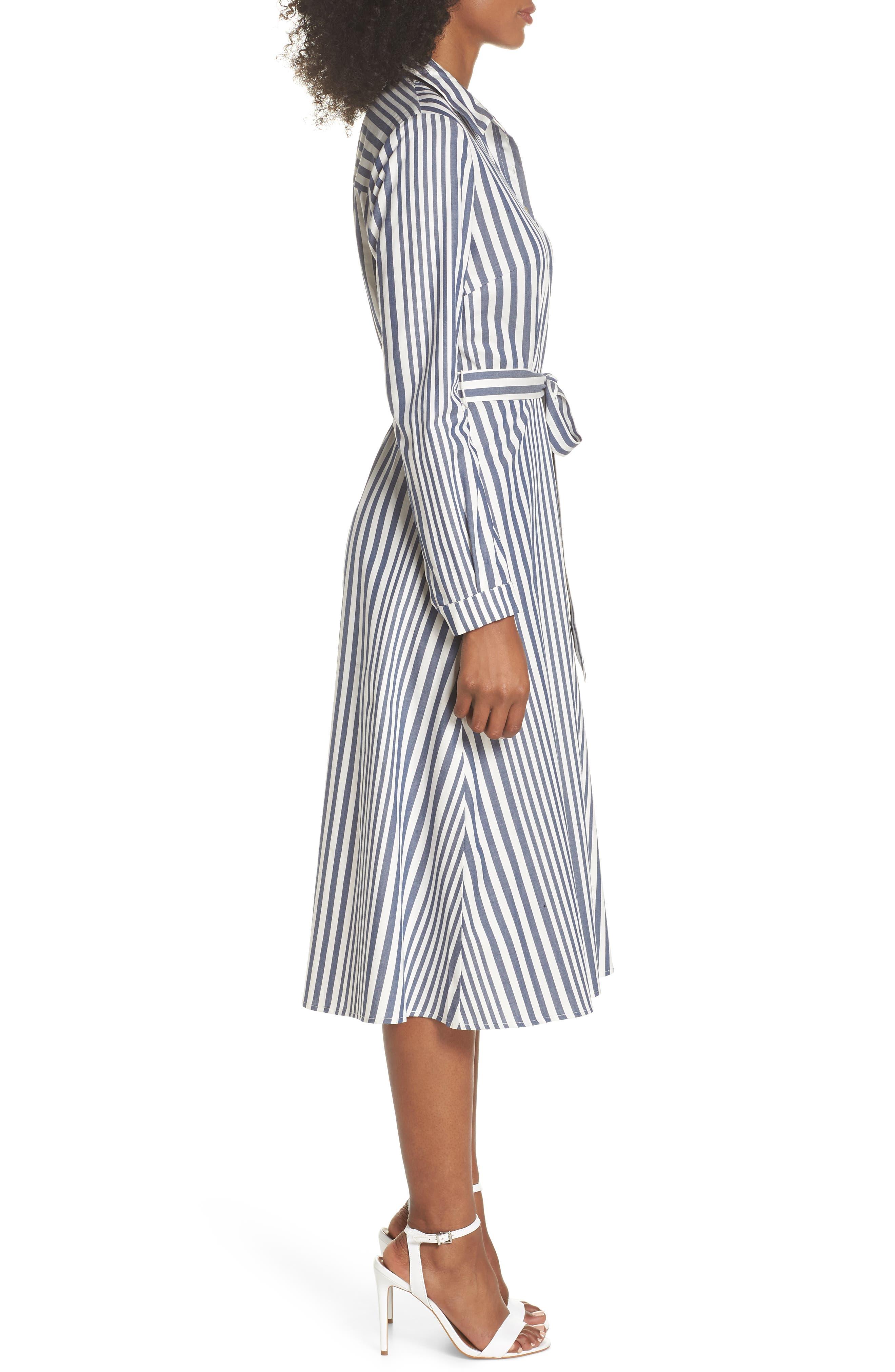 Rachel Stripe Shirtdress,                             Alternate thumbnail 3, color,                             100