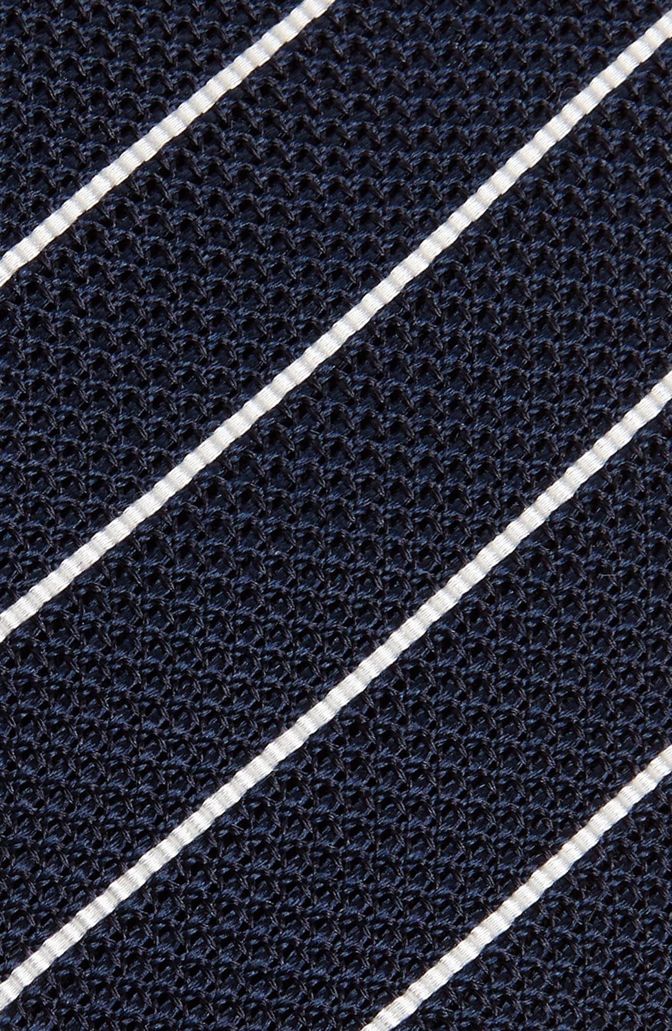Stripe Skinny Silk Tie,                             Alternate thumbnail 2, color,                             NAVY/ WHITE