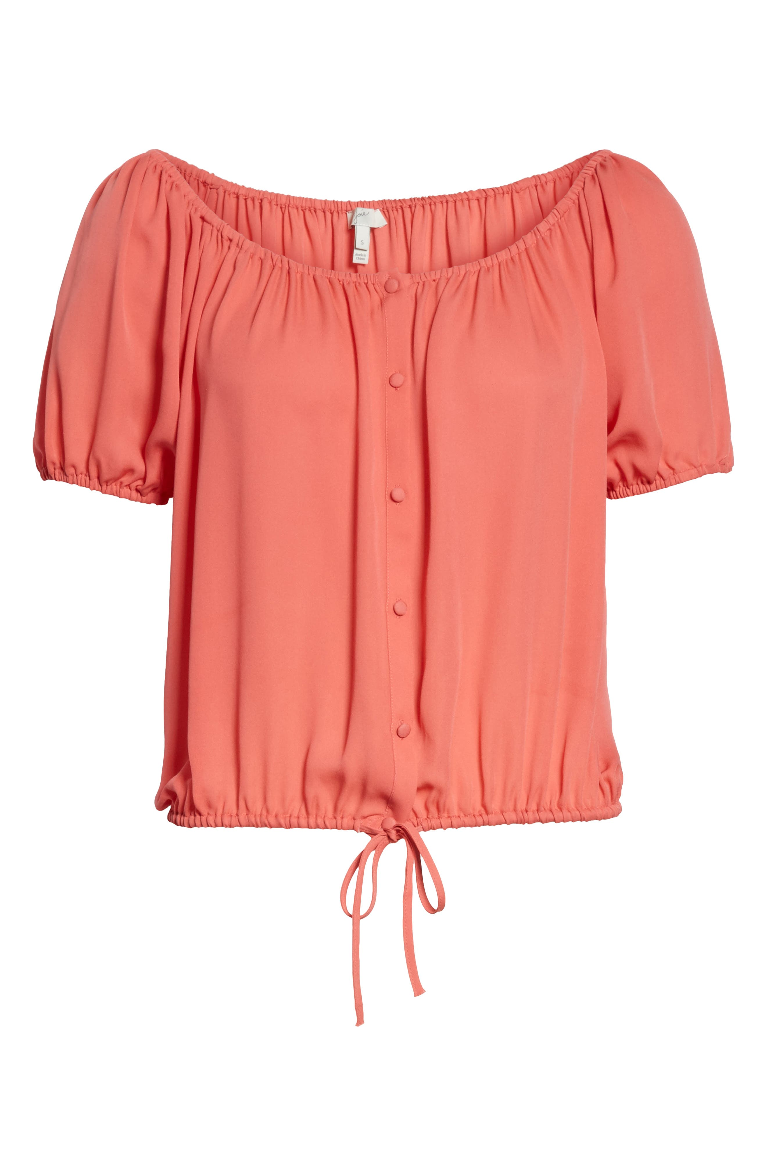 Blesina Tie Front Short Sleeve Silk Blouse,                             Alternate thumbnail 12, color,