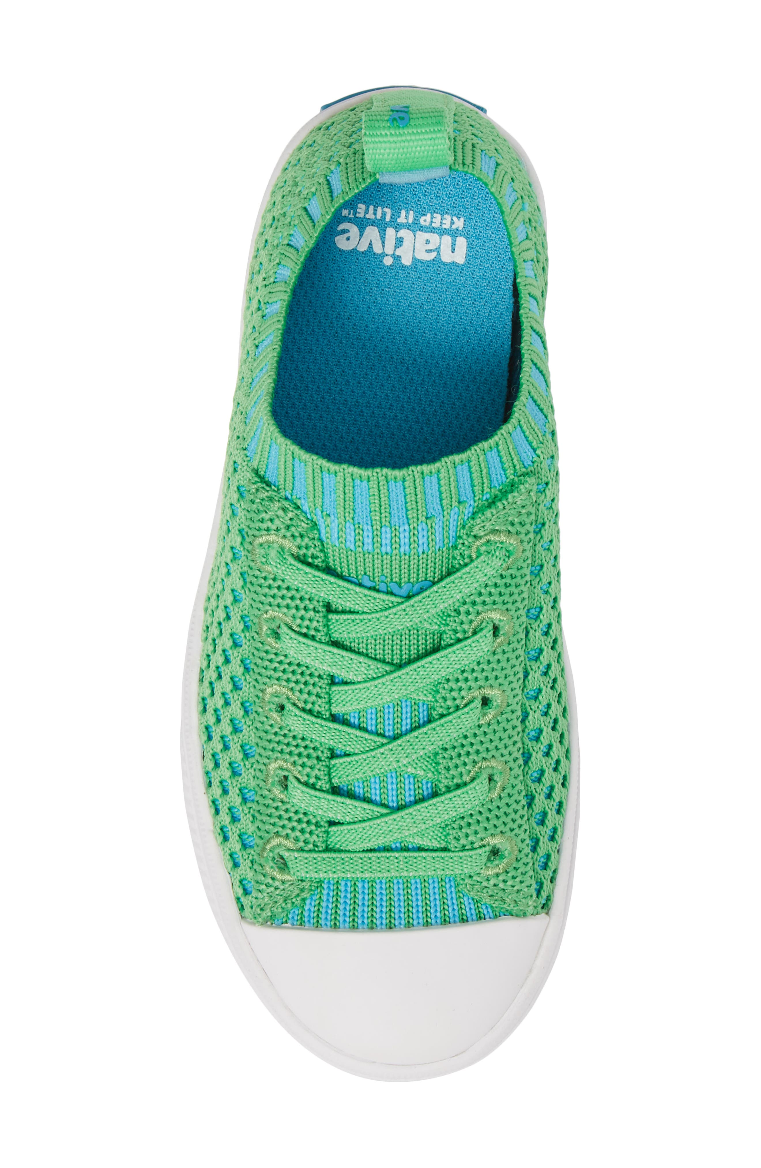 Native Jefferson 2.0 LiteKnit Sneaker,                             Alternate thumbnail 5, color,                             GRASS GREEN/ SHELL WHITE